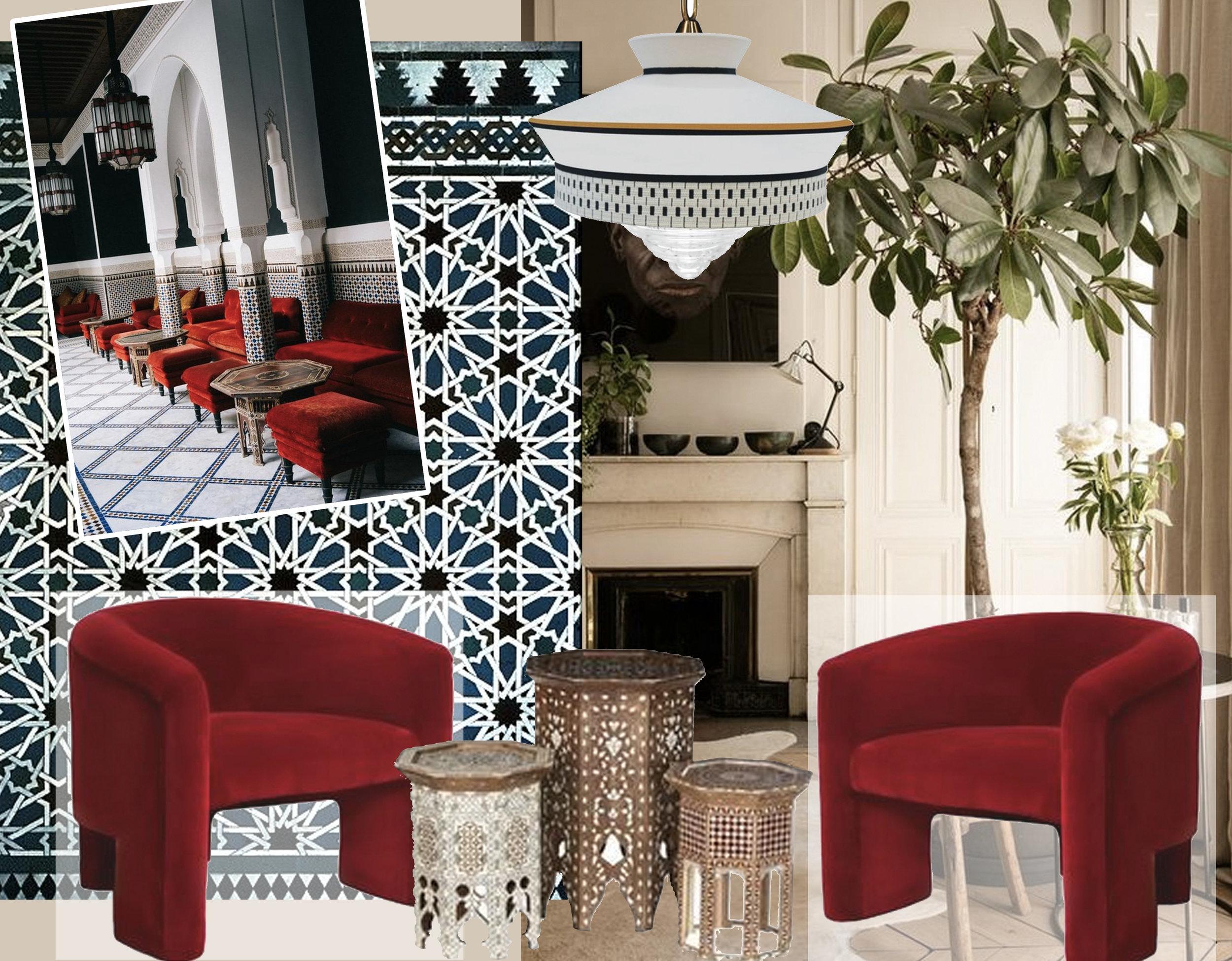 La Mamounia via  Bon Traveler  - geometric pattern via  Pattern in Islamic Art -  interior image via  Living room Ideas  - lounge chairs via  Decaso  - Morroccan tables via  Home Ideas  - Calypso Martinique Pendarti pendant lamp via  Milia Shop