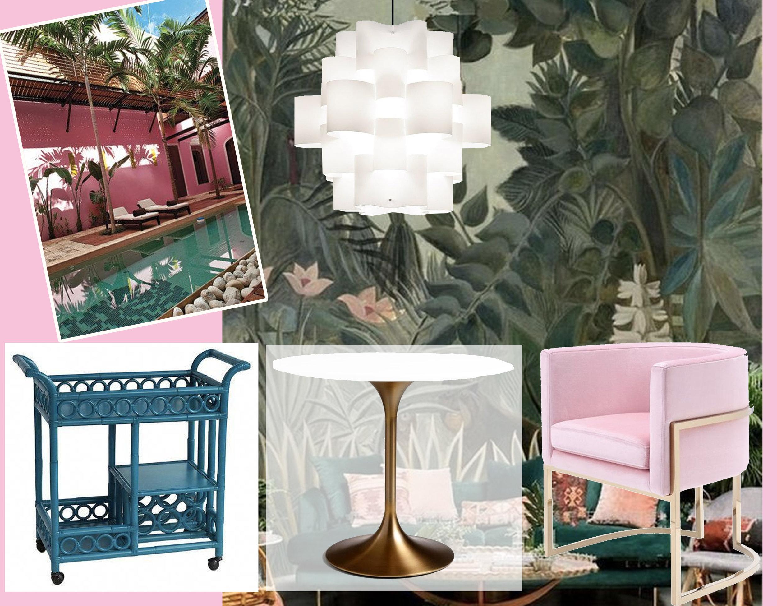 travel image via  Bridal Guide  - Jungle wallpaper via  Tapet Show  - Sun 50 suspended lamp via  Milia Shop  -bar cart  Bungalow & Cottage  - Betsy pink dining chair  Stylish Furniture