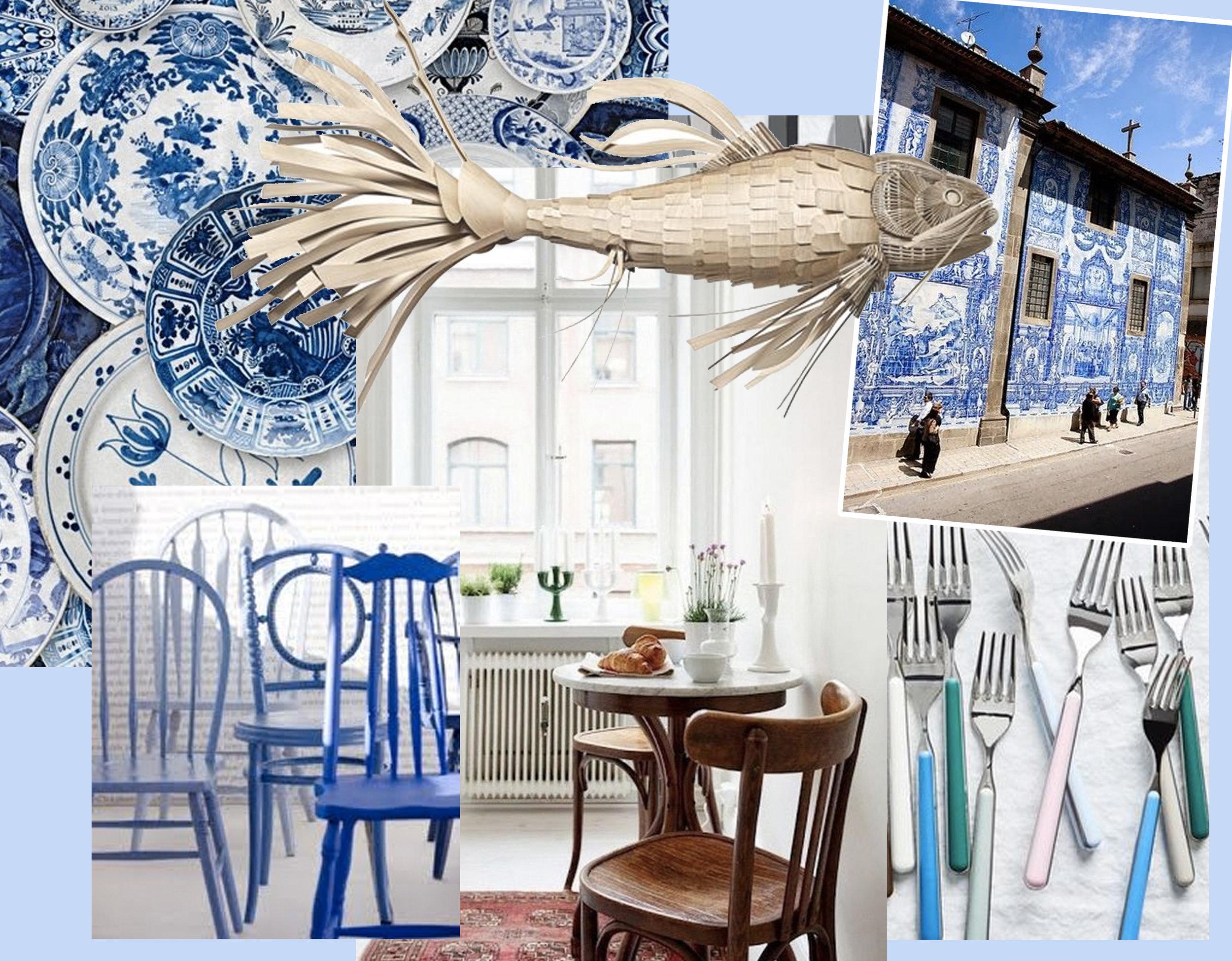 Delftware wallpaper  Mind The Gap  - blue painted chairs via  Daily Imprint  - breakfast corner via  My Scandinavian Home  - Koi pendant lamp  LZF  - facade in Porto via  Flickr  - Fantasia, Italian flatware  Food52