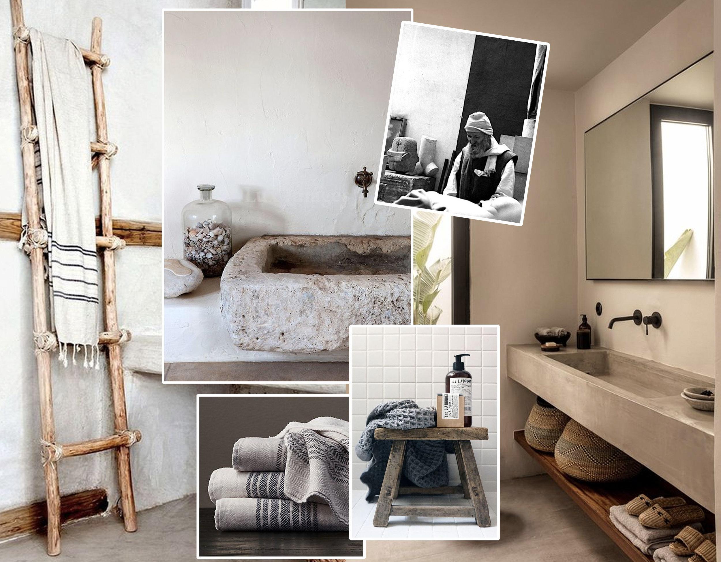 Brancusi  - bathroom image via  Planete Deco  - stone washbasin via  Style Files  - bamboo towel rack via  My Domaine  - wooden stool via  My Full House  -