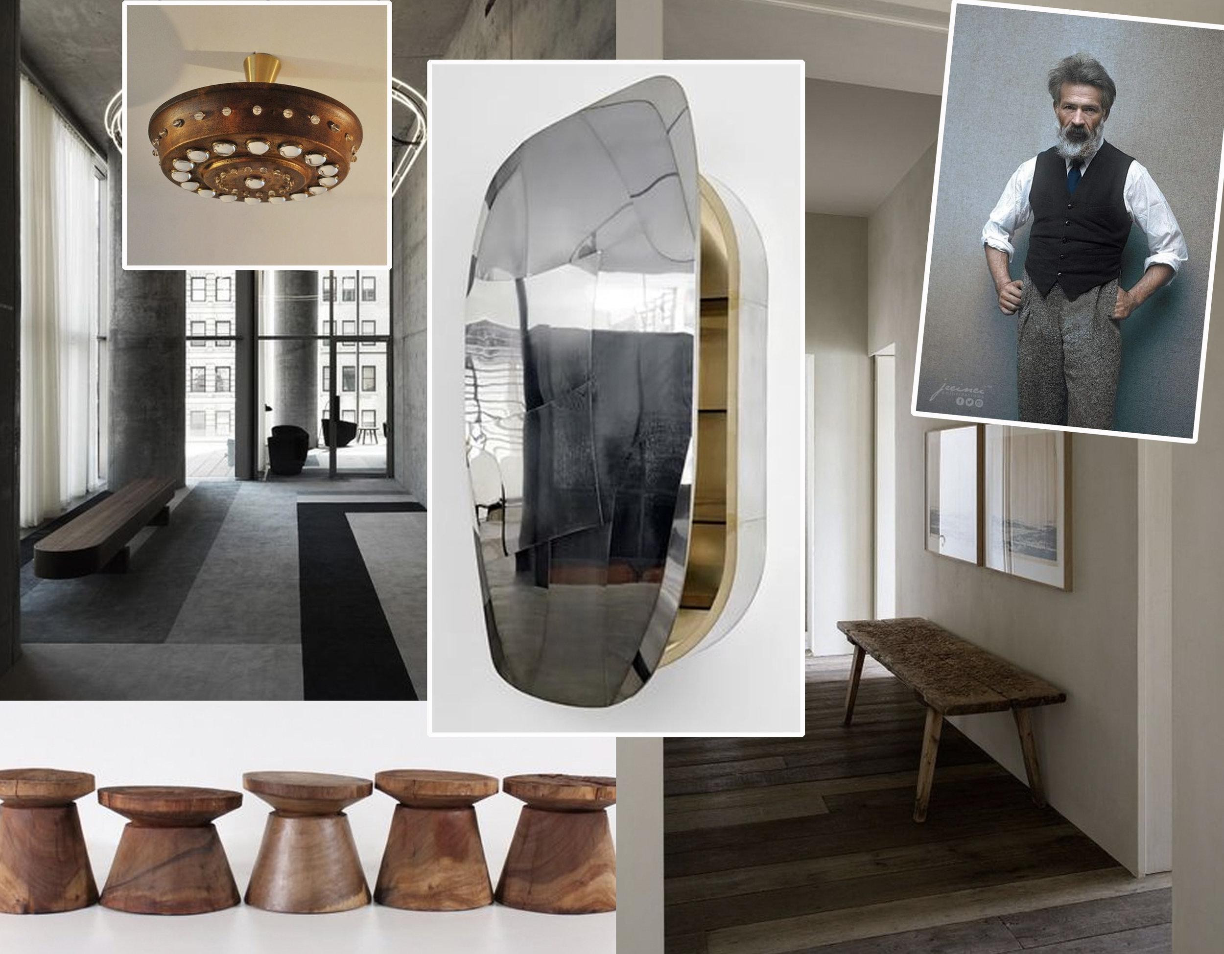 ceiling lamp  Vintage  - entance loby  Molteni  - Brutalist rosewood stools  Vintage  - DC 1611 cabinet of  Vincenzo De Cotiis  = entrnac hall via  Frederik Vercruysse  -  Brancusi