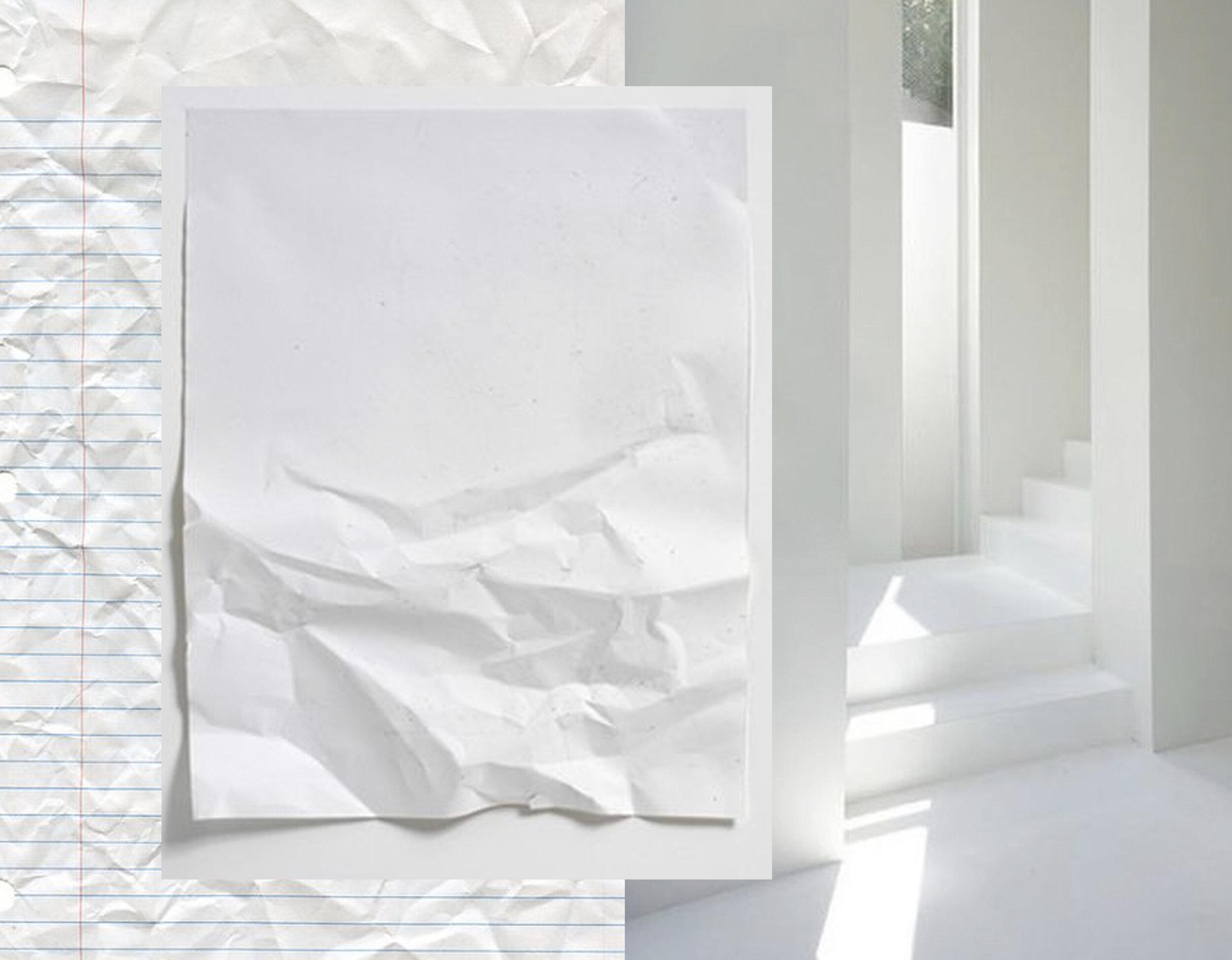 crumpled looseleaf paper  Cliffski  - crumpled white paper Winter Series  Stephen Antonakos  - white room via  Ultralinx