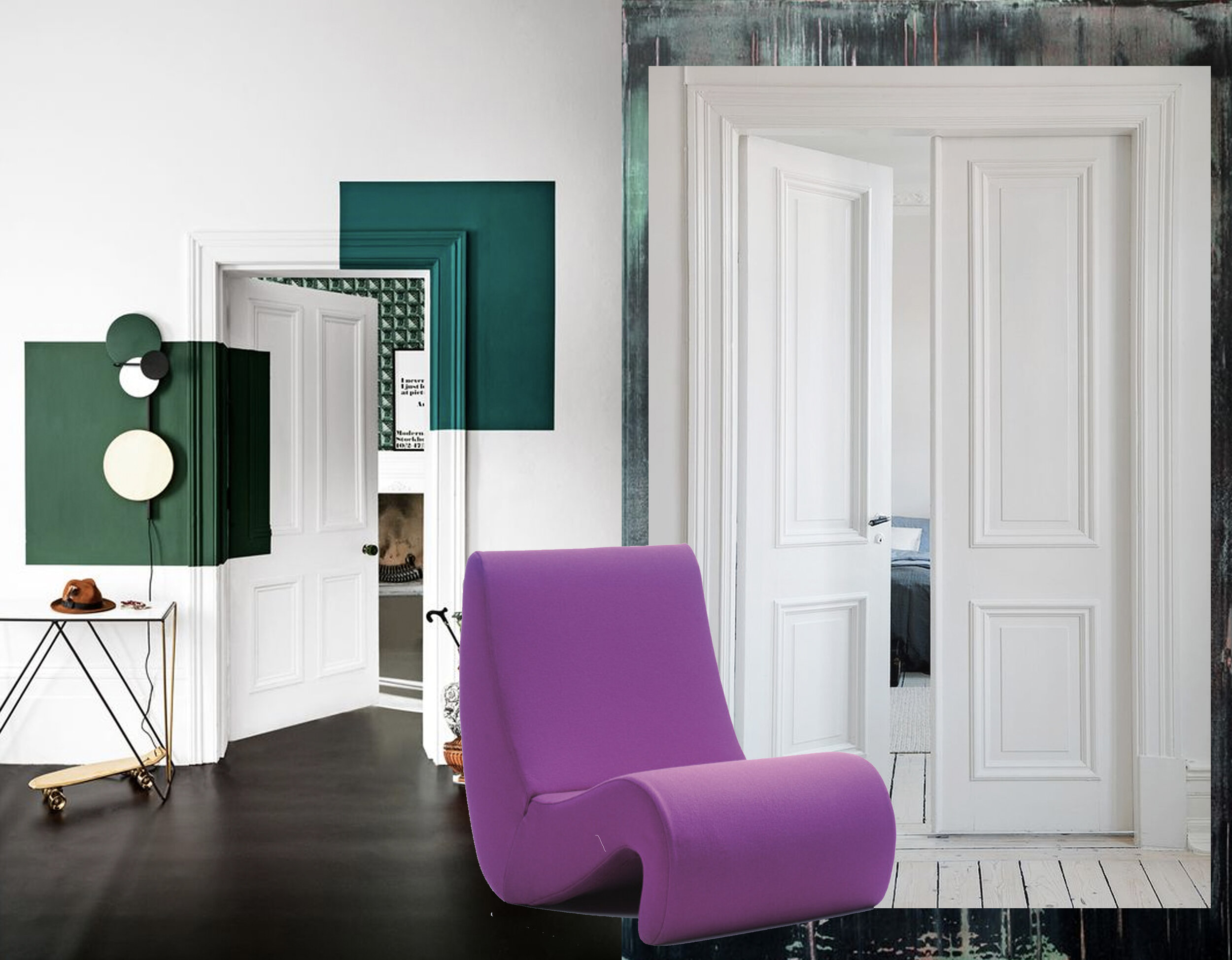 interior on the left  Living etc  - white door via  Ombia  - green background via  WGSN  - armchair Amoebe, Verner Panton  Vitra