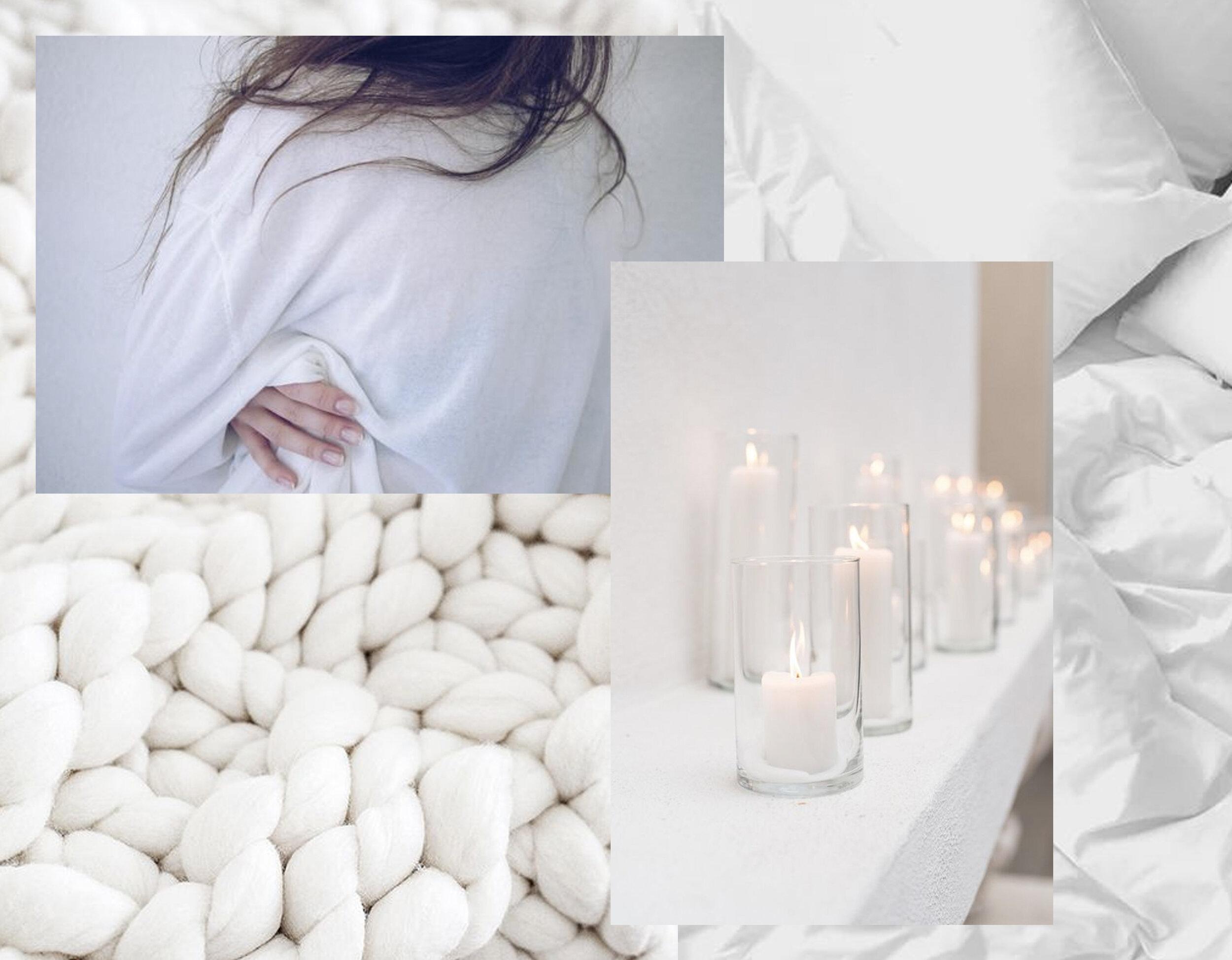 knitted wool via  Kara Rosenlund  - image woman Darian Nepriakhina via  Unsplash  - candles - bedlinnen Sylvie Tittel via  Unsplash