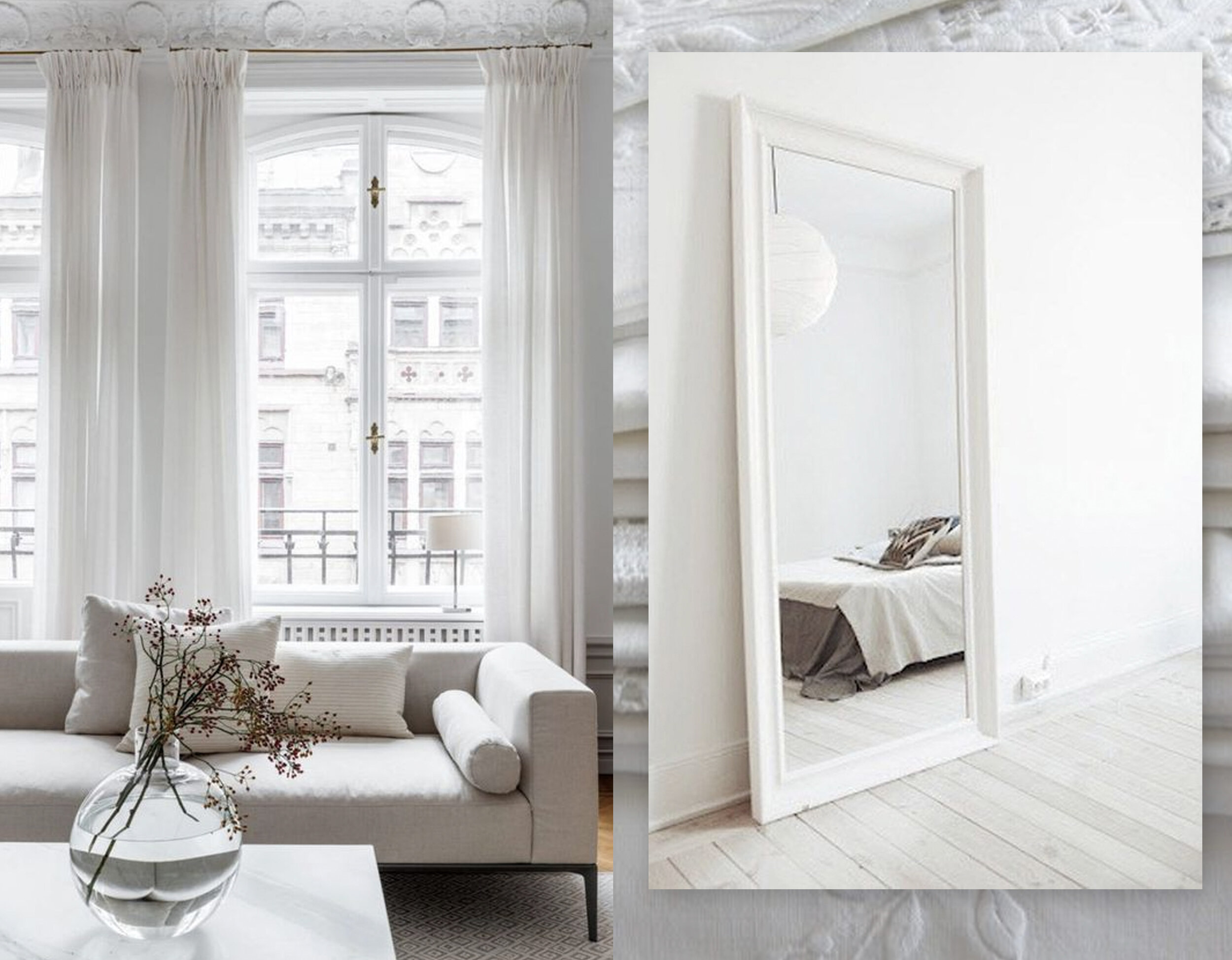 living room via  Nordic Design  - image with mirror via  Could I have That  - linen in the back via  Artisans List