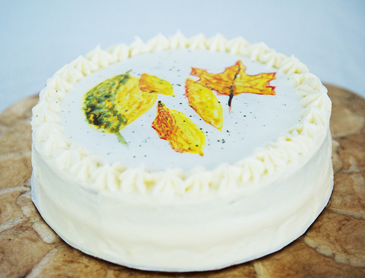 watercolor frosting pumpkin cake