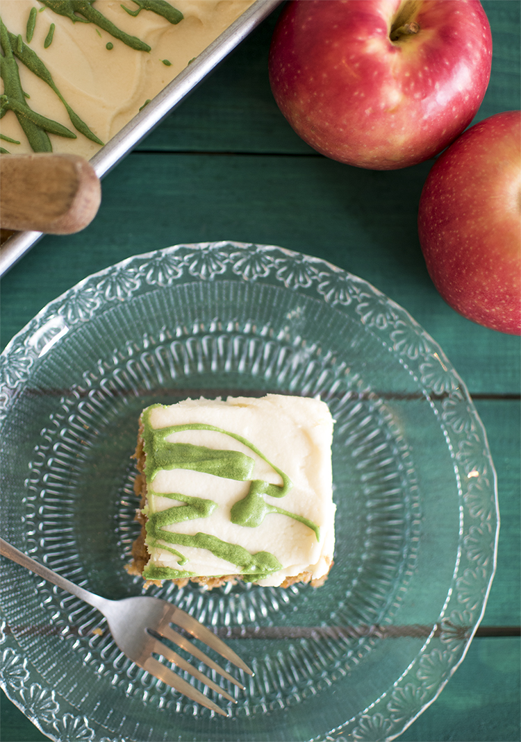Apple Spice Cake using ColorKitchen's natural Green Food Dye