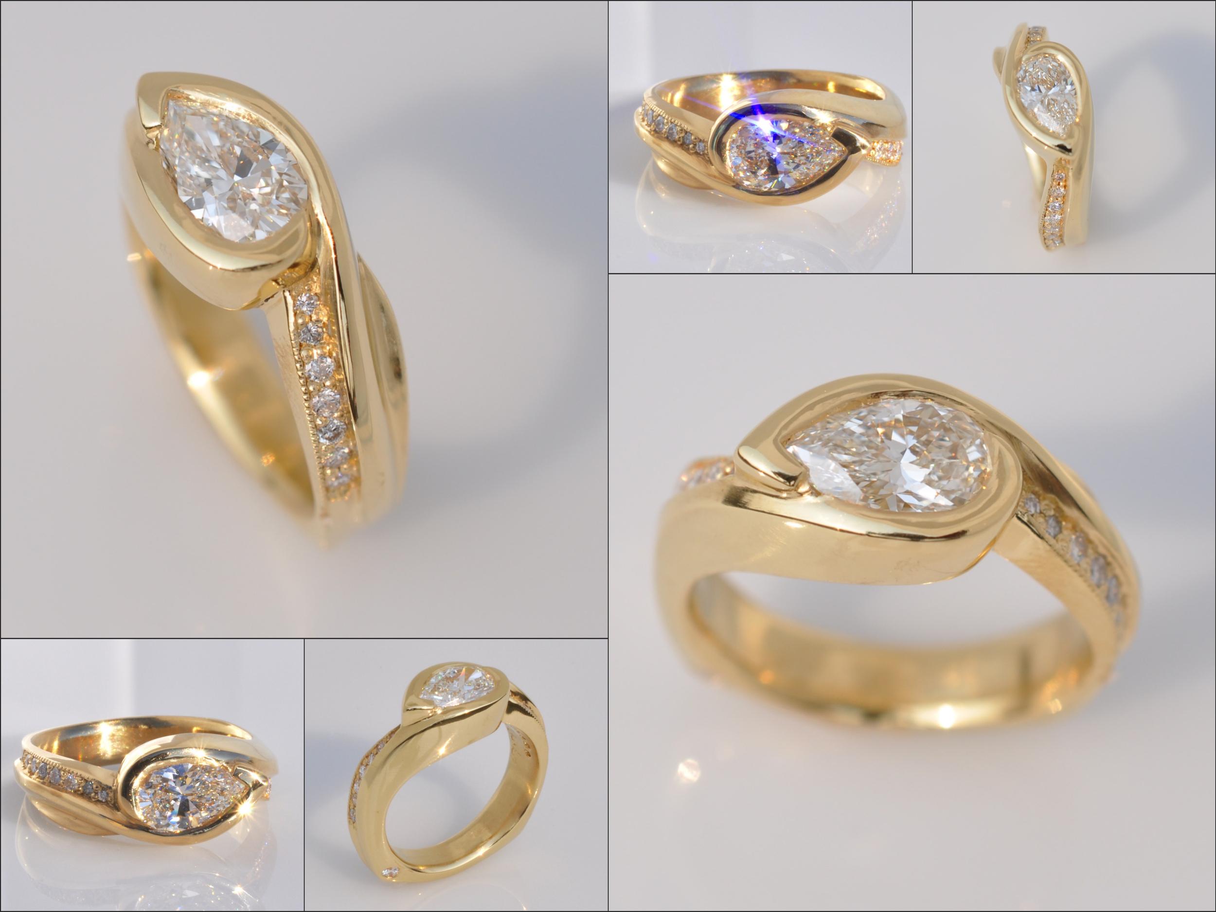 22k gold Waylon Rhoads Original featuring a 1.01 carat pear shape diamond and .18 cttw diamond melee.