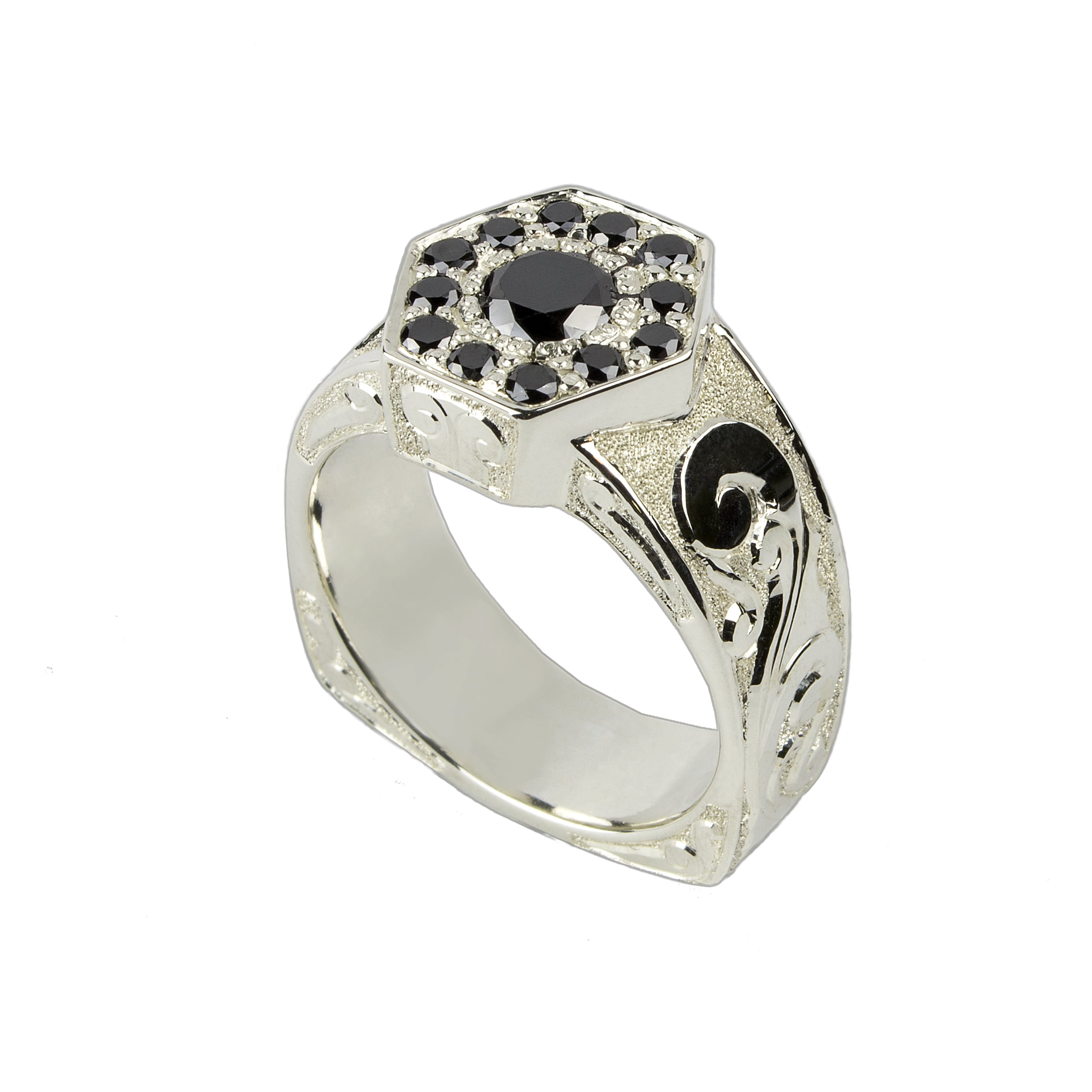 Hand Engraved Sterling Silver Ring with Black Diamonds by Waylon Rhoads Jewelry