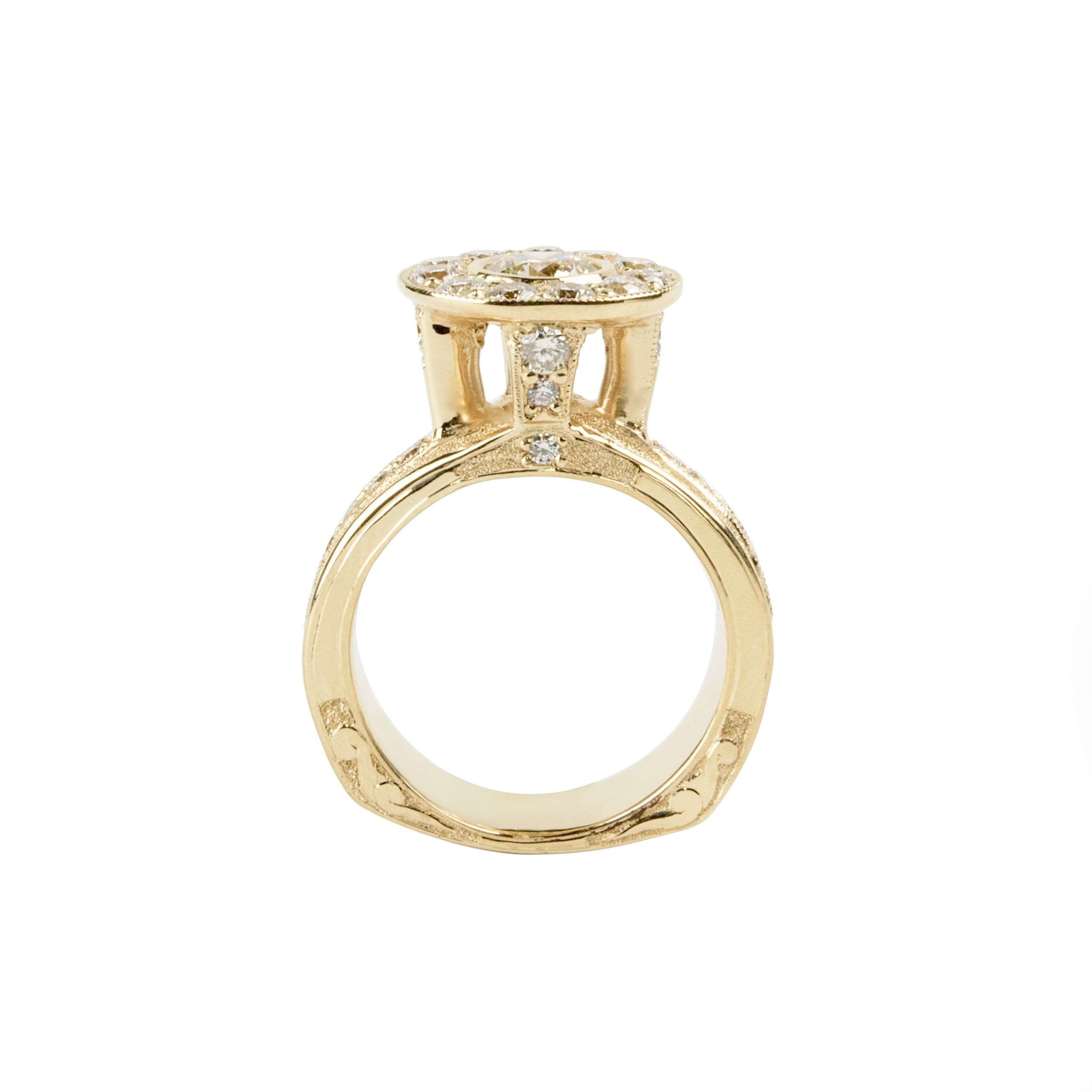 Gold Diamond Queen Ring by Waylon Rhoads Jewelry