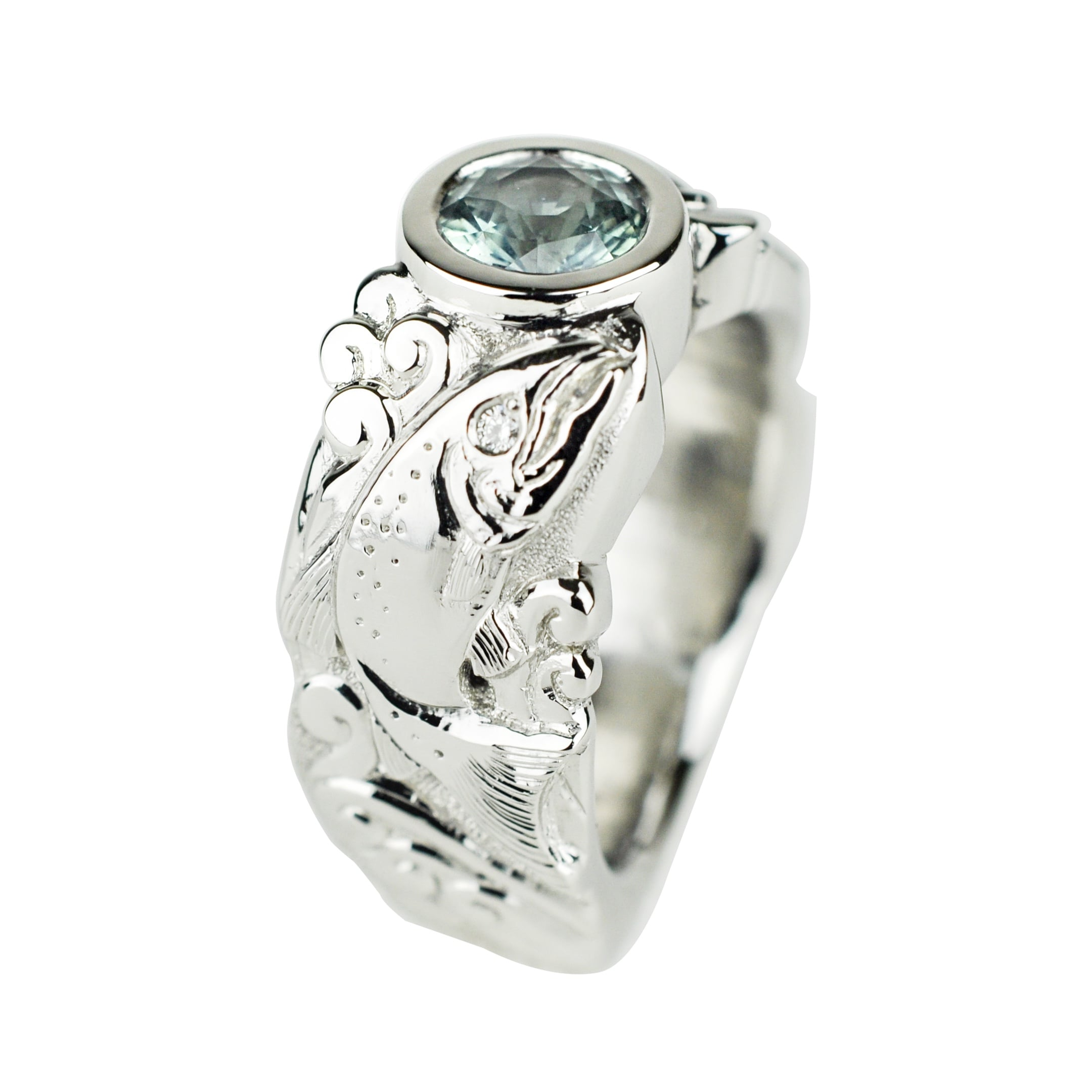 Platinum Salmon Ring with Montana Sapphire and Diamonds