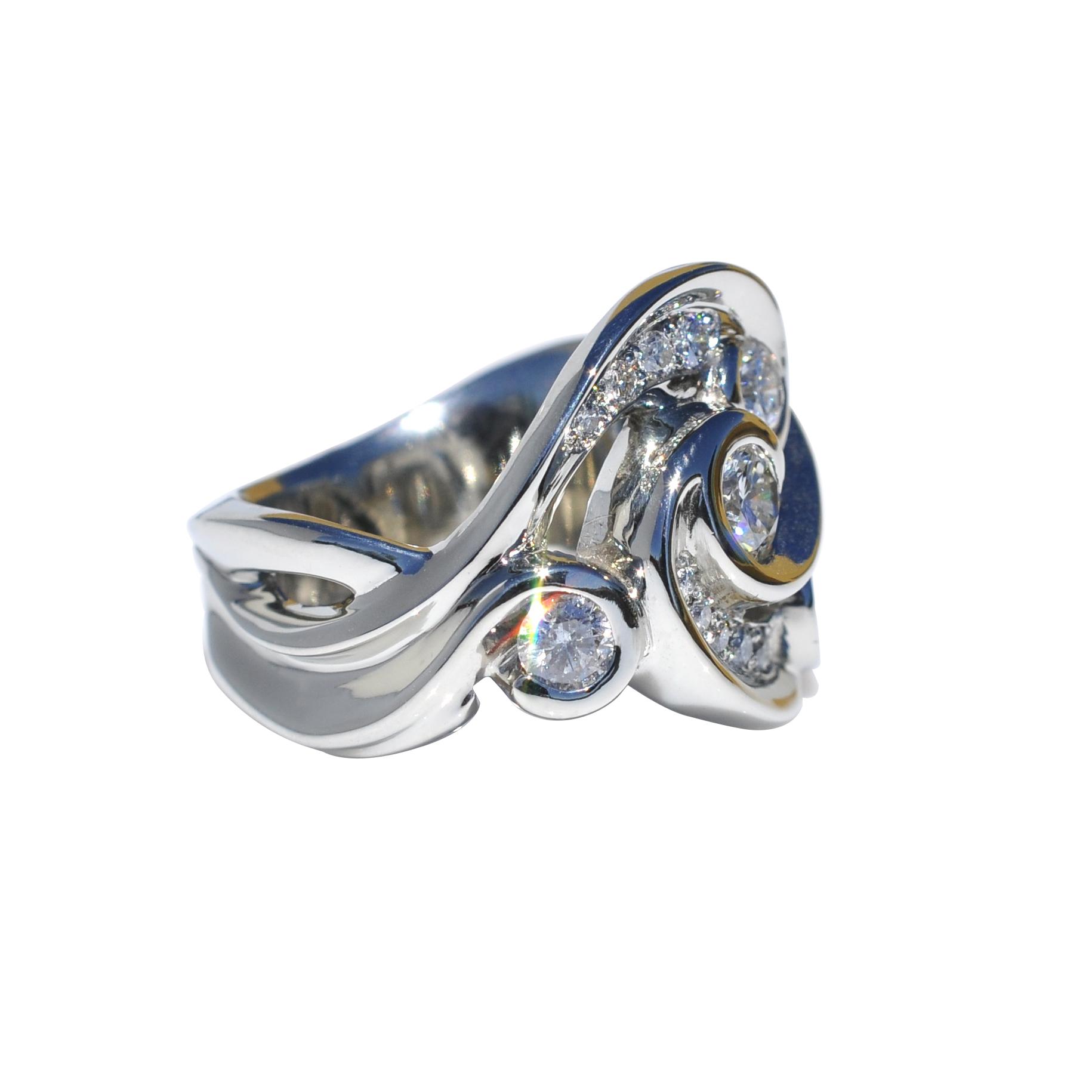 14k White Gold Waylon Rhoads Original Custom Ring Extravaganza with Diamonds