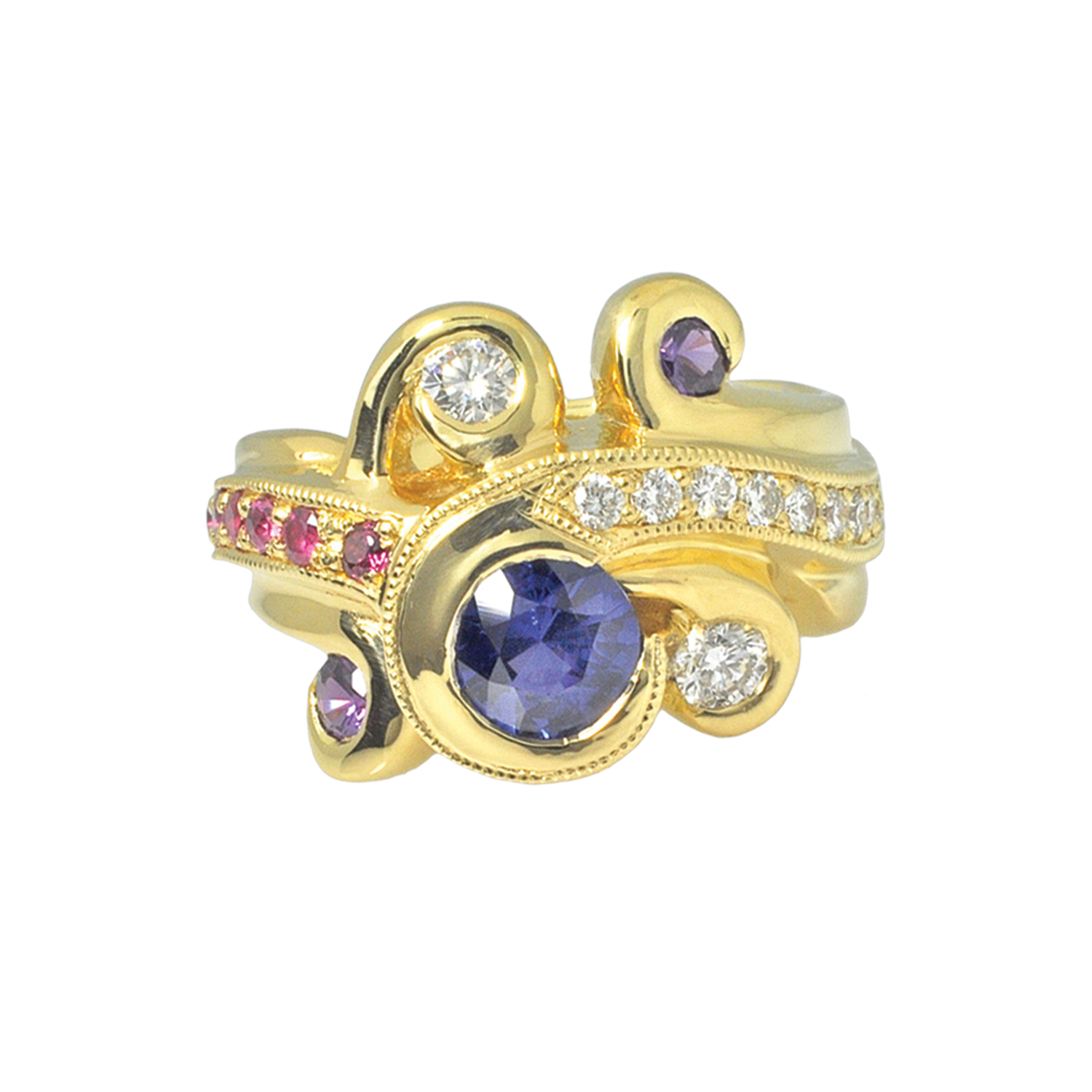 18k Gold Ring with Blue, Purple and Pink Sapphires and Diamonds by Waylon Rhoads Jewelry