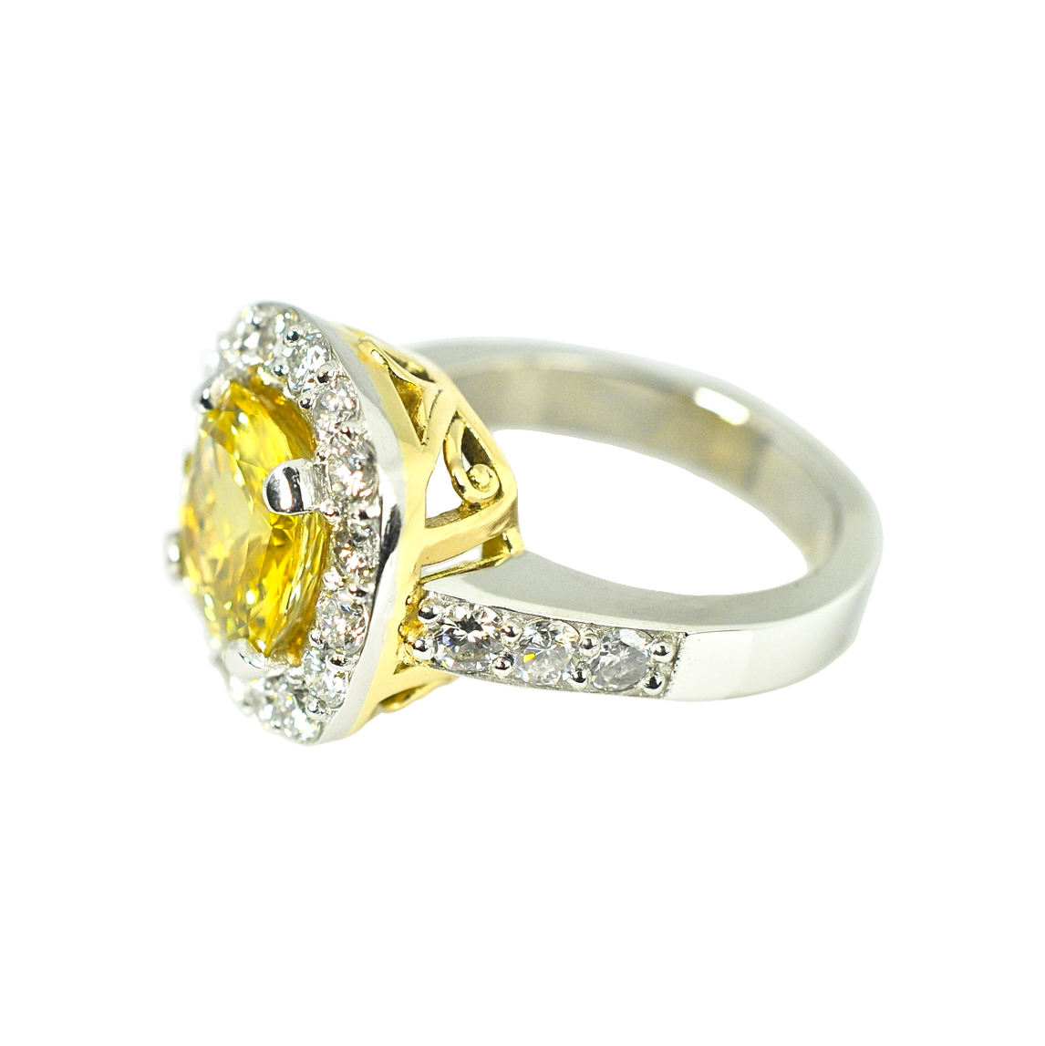3.36ct Yellow Sapphire and Diamond Ring by Waylon Rhoads Jewelry