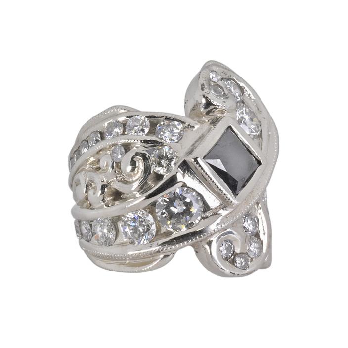 14k White Gold Ring with Diamonds and Black Diamond by Waylon Rhoads Jewelry