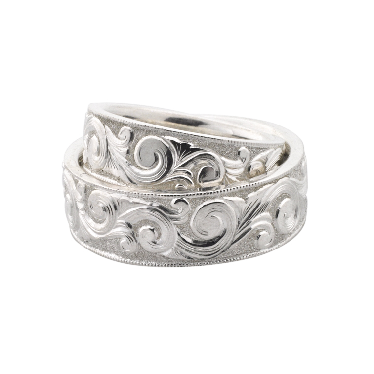 Silver Scroll Engraved Wedding Bands