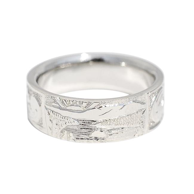 Hand Engraved Men's Wedding band by Waylon Rhoads Jewelry