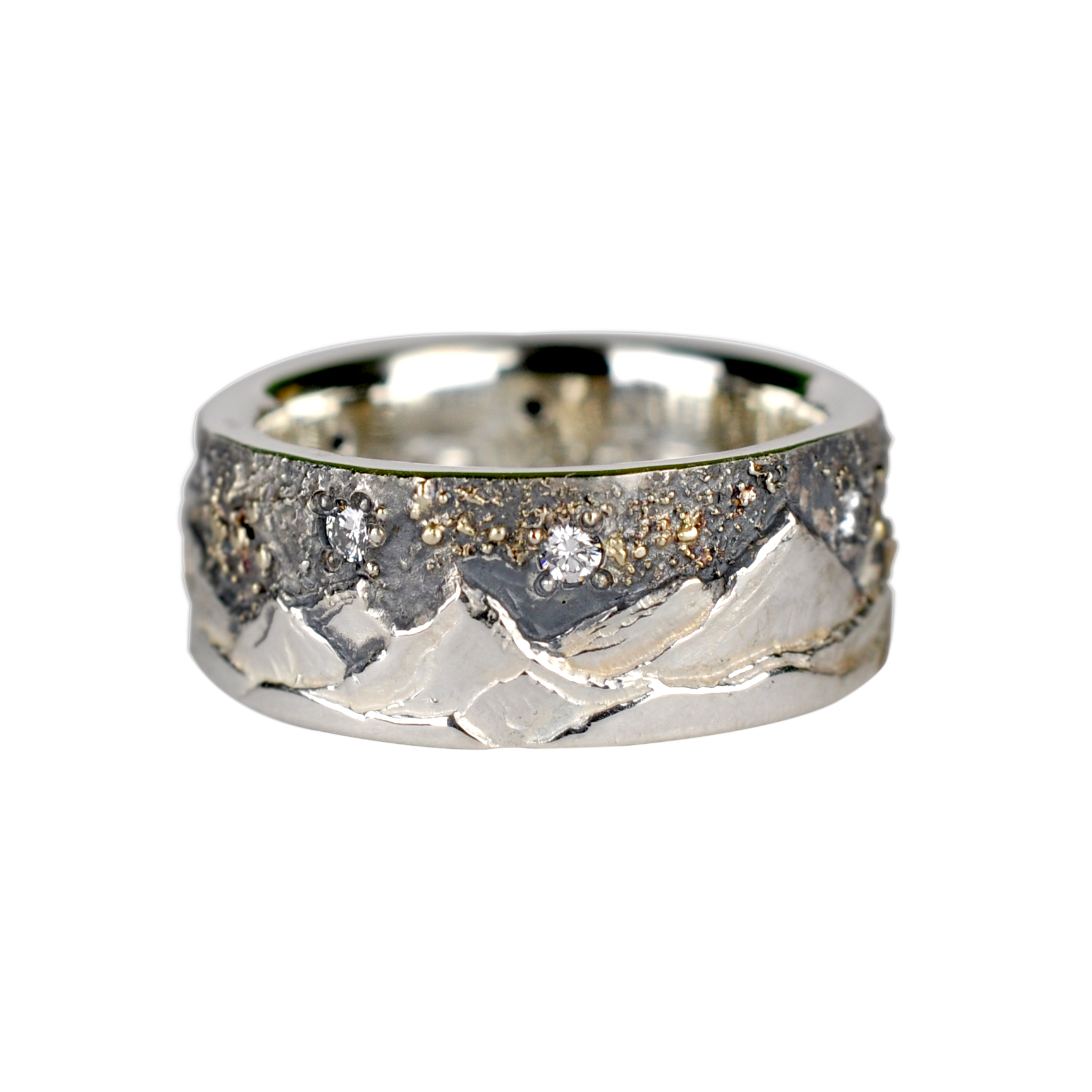 Mountain Landscape Ring with Gold Fusion and Diamonds