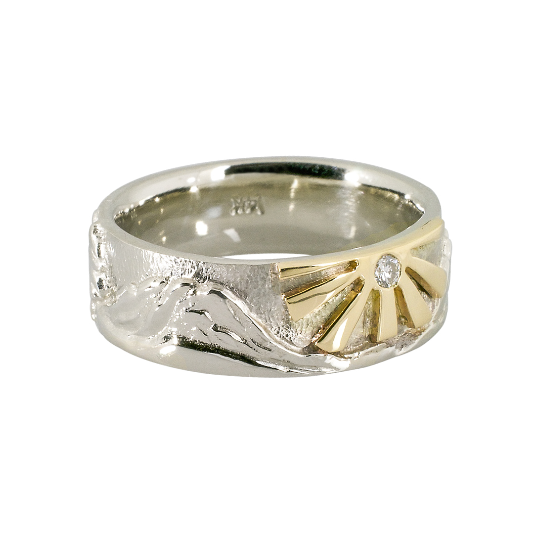 14k white gold Cascade Mountain ring featuring 18k yellow gold sun and .05 ct diamond