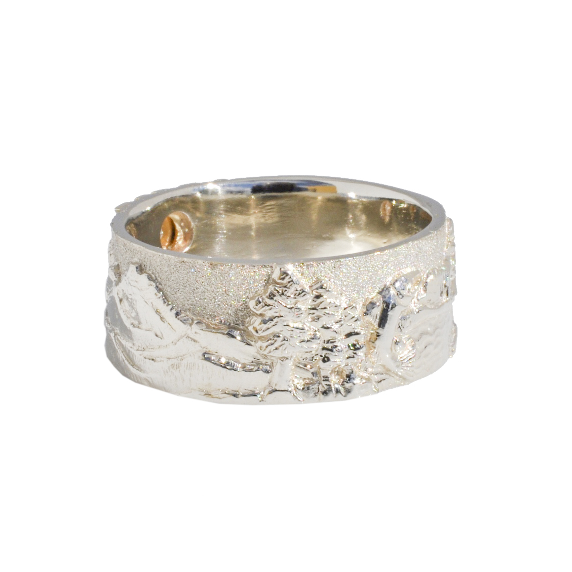 Cascade Mountain Landscape Ring 18k gold, 14k white gold, and .33 carat round brilliant diamond
