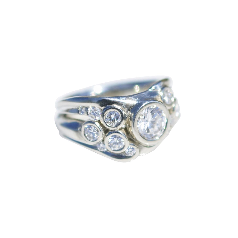 14k White Gold Bezel Set Diamond Ring