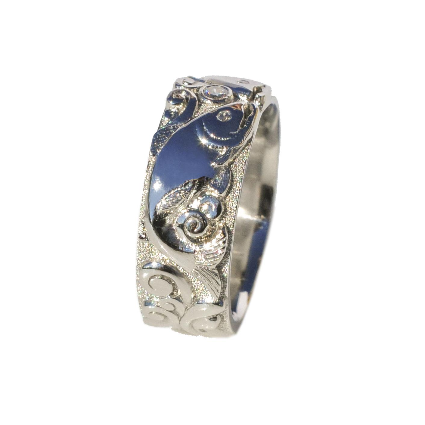 Waylon Rhoads Original Platinum Salmon Ring with Diamonds