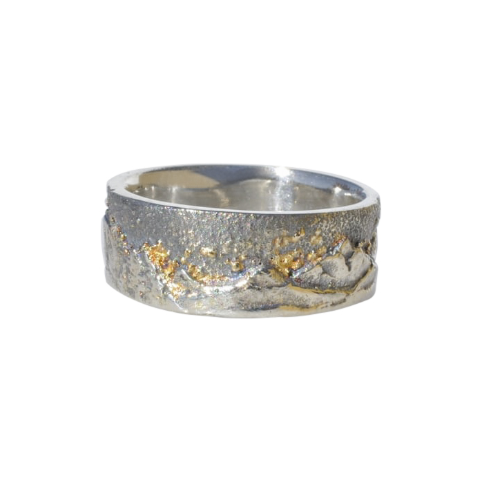 Sterling Silver Mountain Ring with 18k Gold Fusion