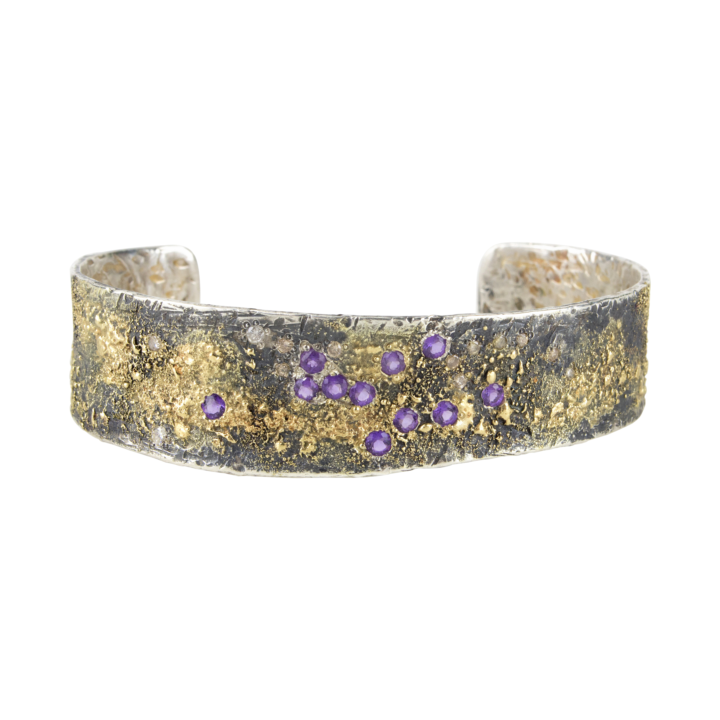 Fusion Concepts 18k Gold and Oxidized Silver Cuff with  Amethysts and Diamonds