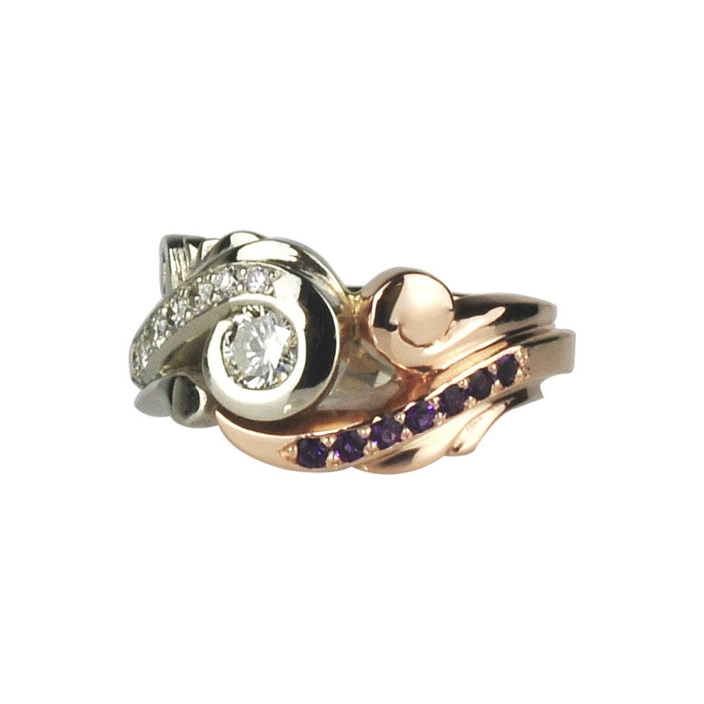 14K White Gold Ring and 14K Rose Gold with Diamonds and Amethysts by Waylon Rhoads Jewelry