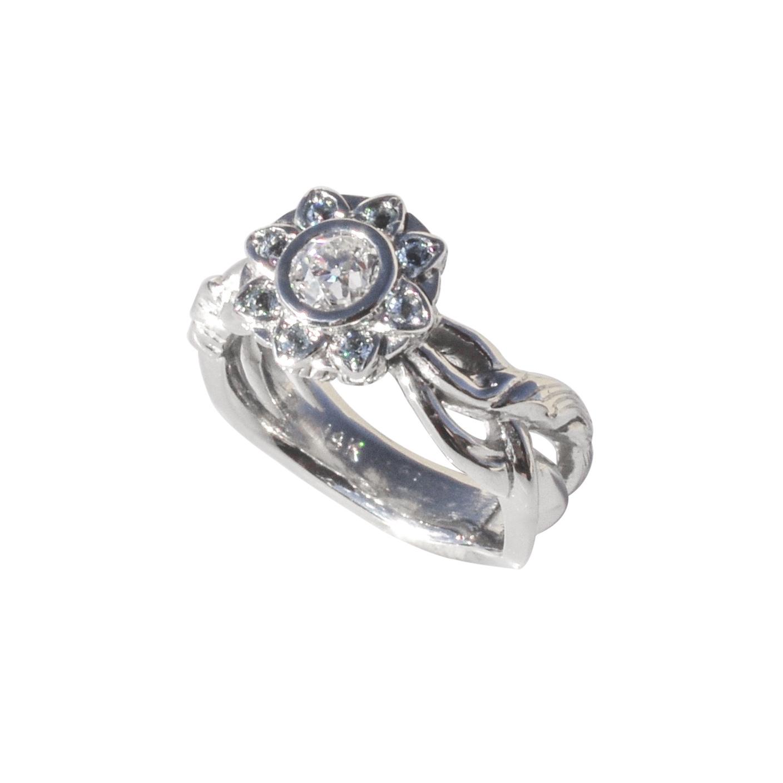 14k White Gold Aquamarine and Diamond Flower Ring