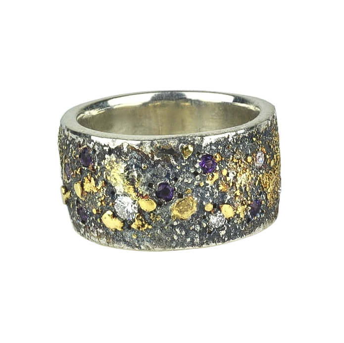 Amethyst and Diamonds Fusion Scroll Ring