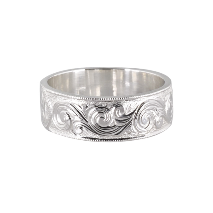 Hand Engraved Sterling Silver Scroll Ring