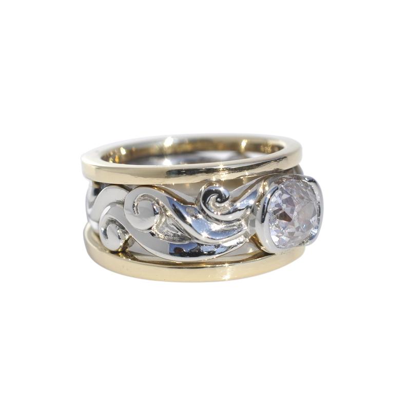 14kWhite Gold and 18k Yellow Gold Old European Cut Diamond Ring