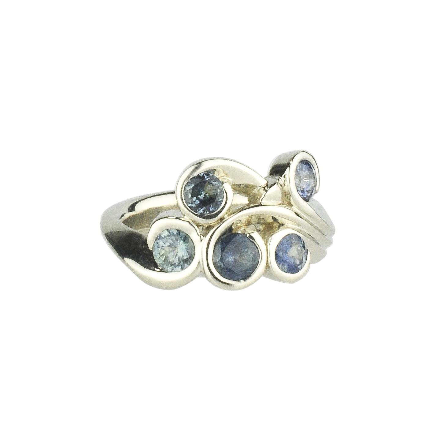 14k White Gold Super Sexy Swirl Ring with Montana Sapphires by Waylon Rhoads Jewelry