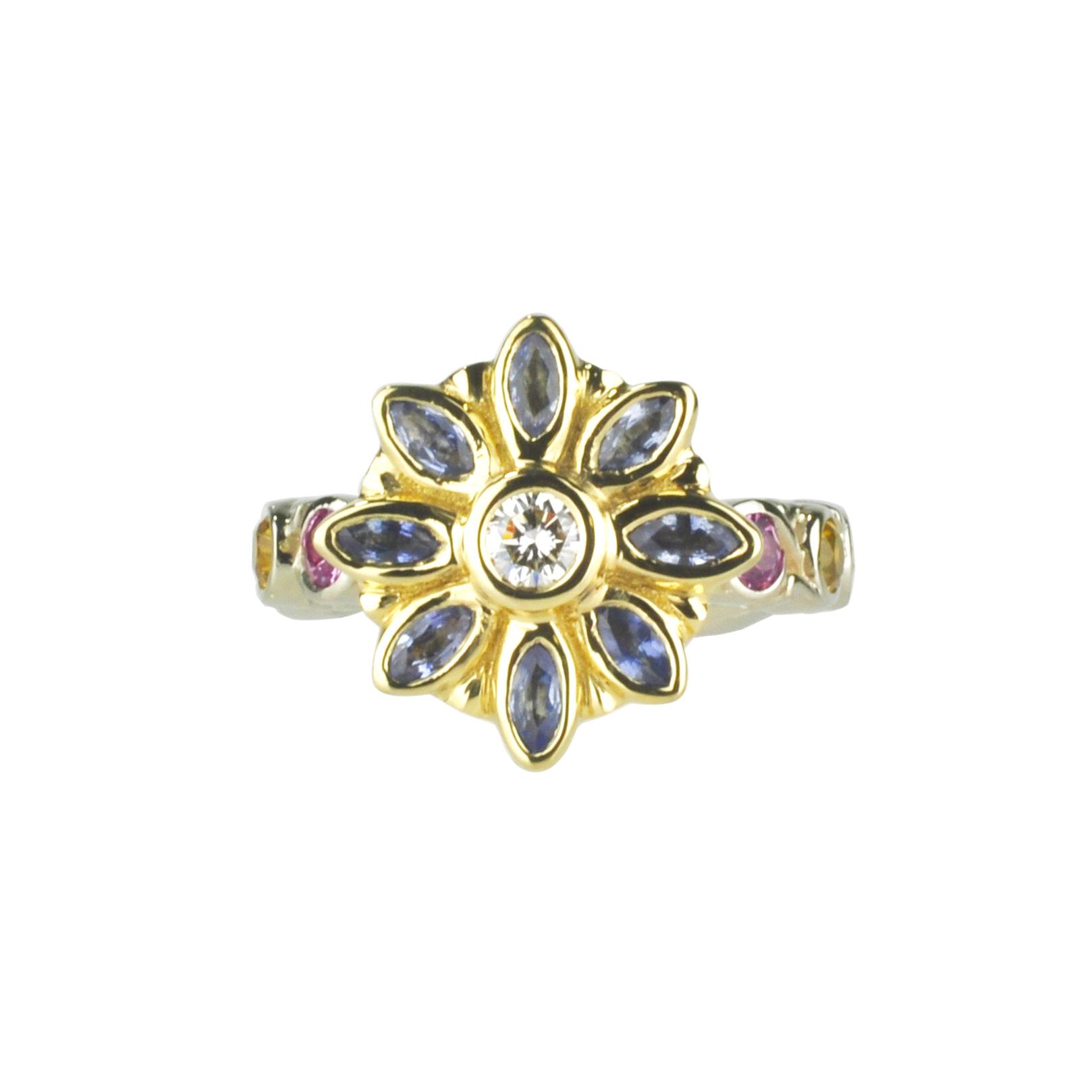 Sapphire and Diamond Flower Ring by Waylon Rhoads Jewelry
