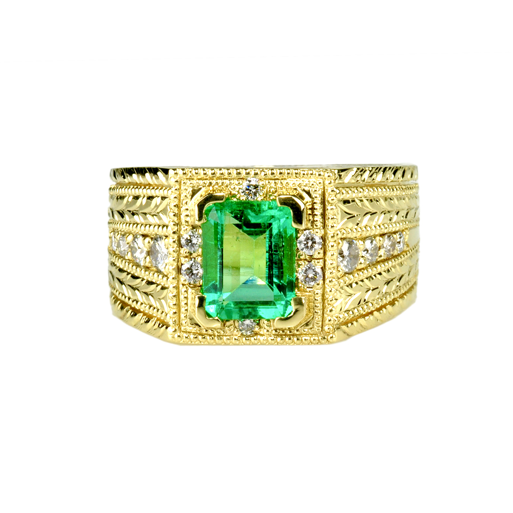 18k Gold Hand Engraved Ring with Emerald And Diamonds by Waylon Rhoads Jewelry