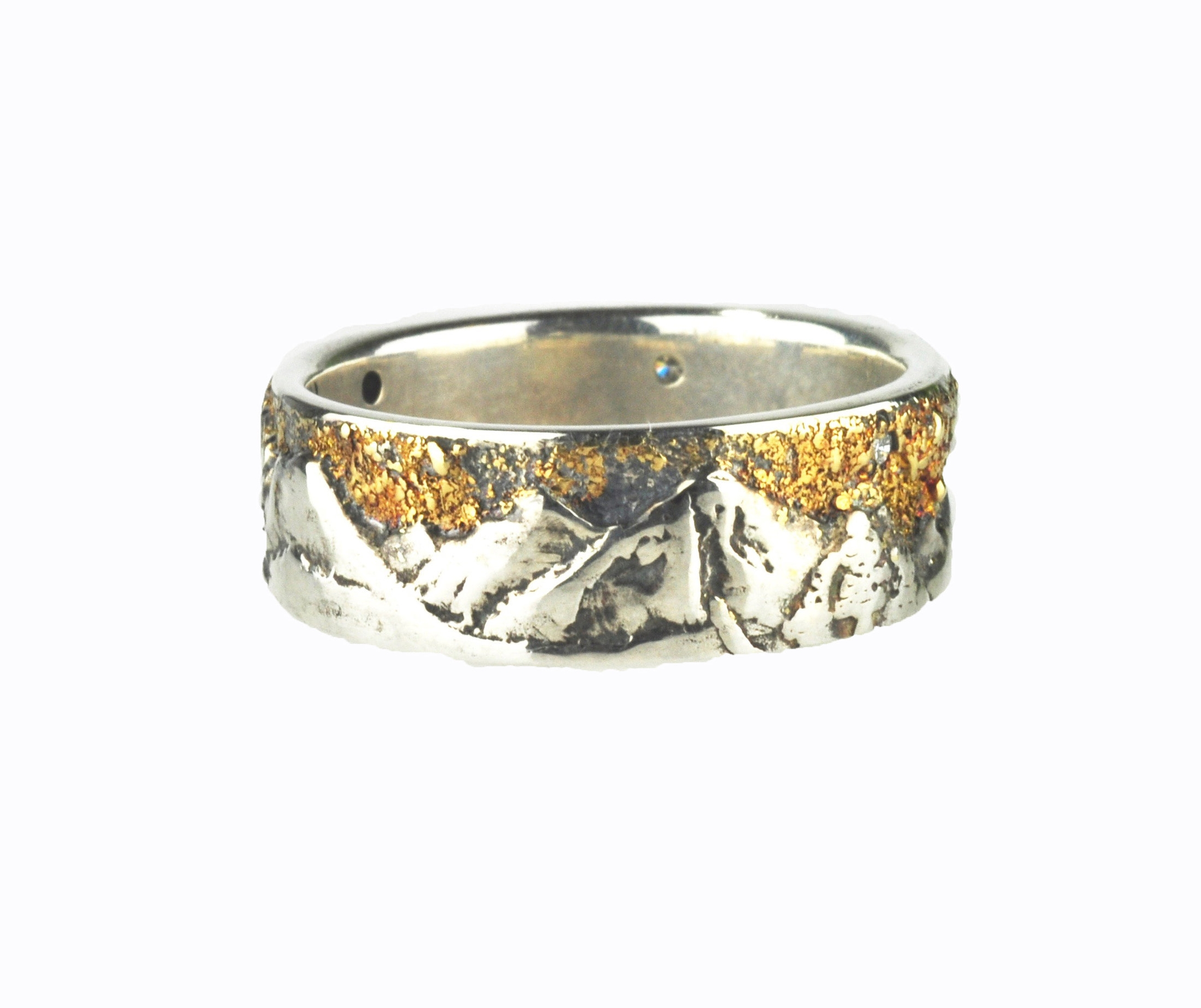 Cascade Mountain Ring with 18k Gold Fusion and Diamonds