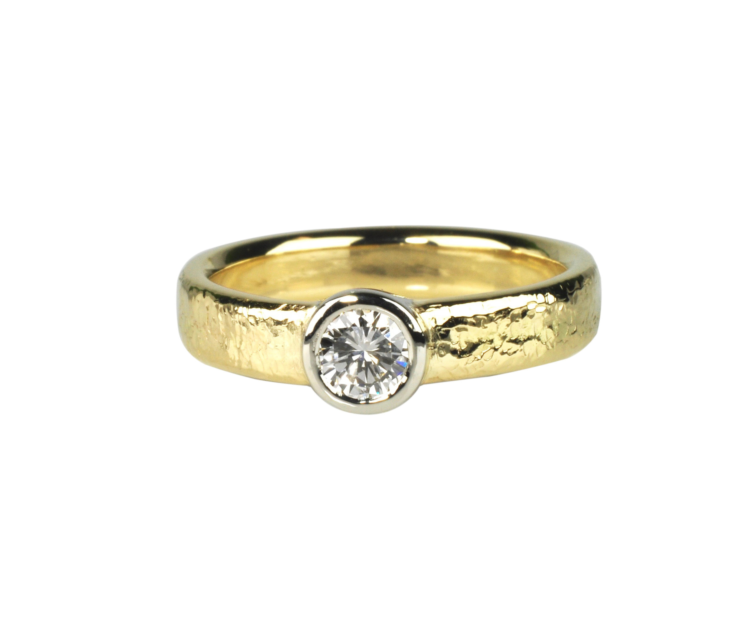 18k Gold and 14k White Gold Diamond Ring