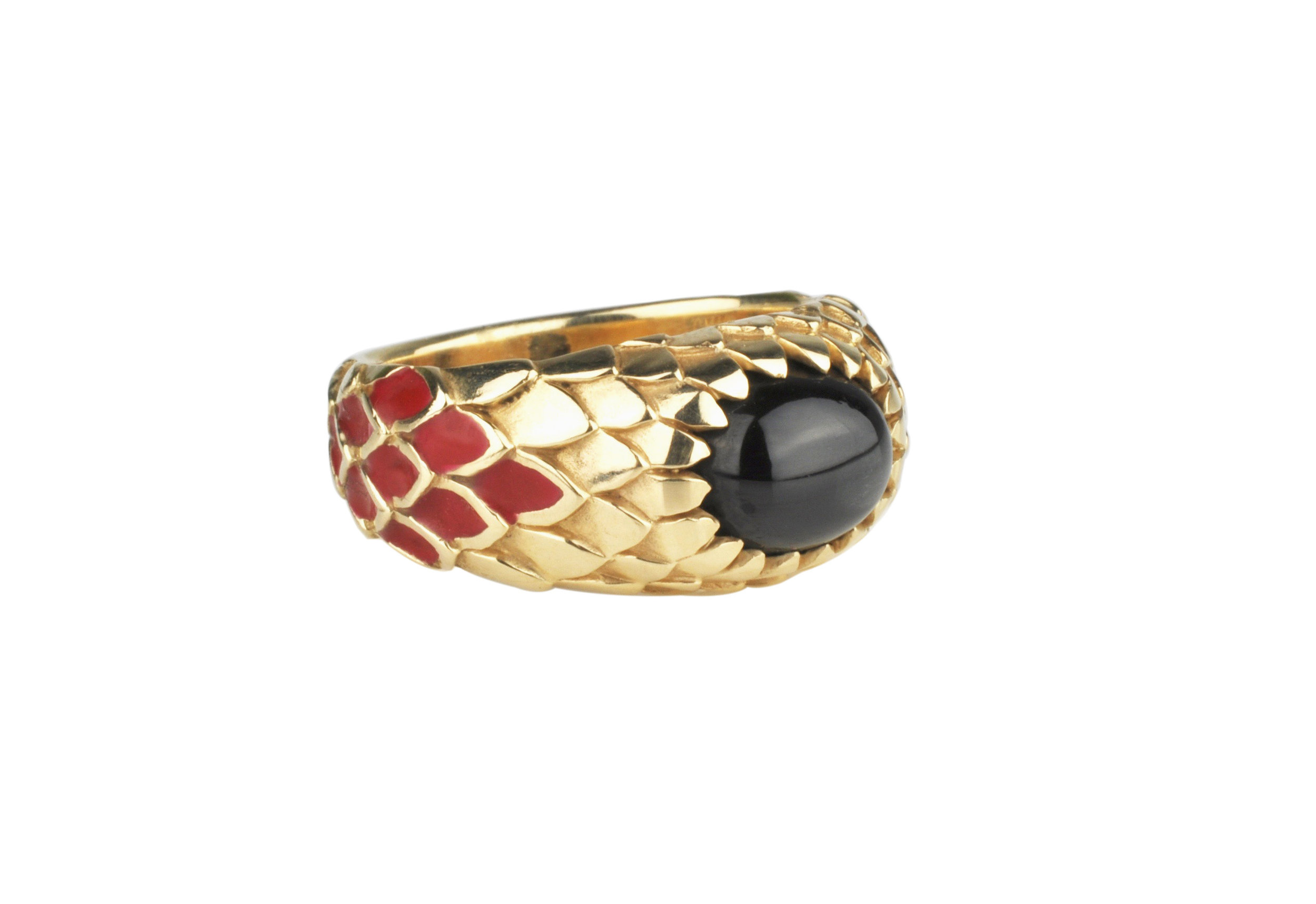14k Yellow Gold Enameled Ring with Russian Black Star Sapphire