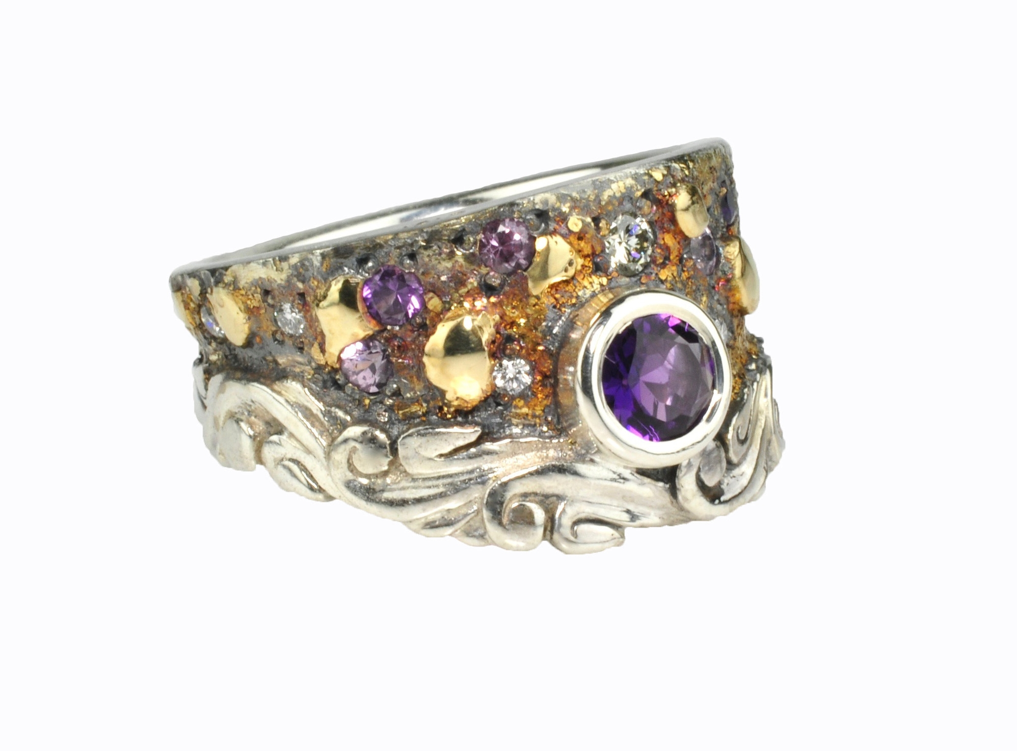Purple Sapphire Fusion Scroll Ring