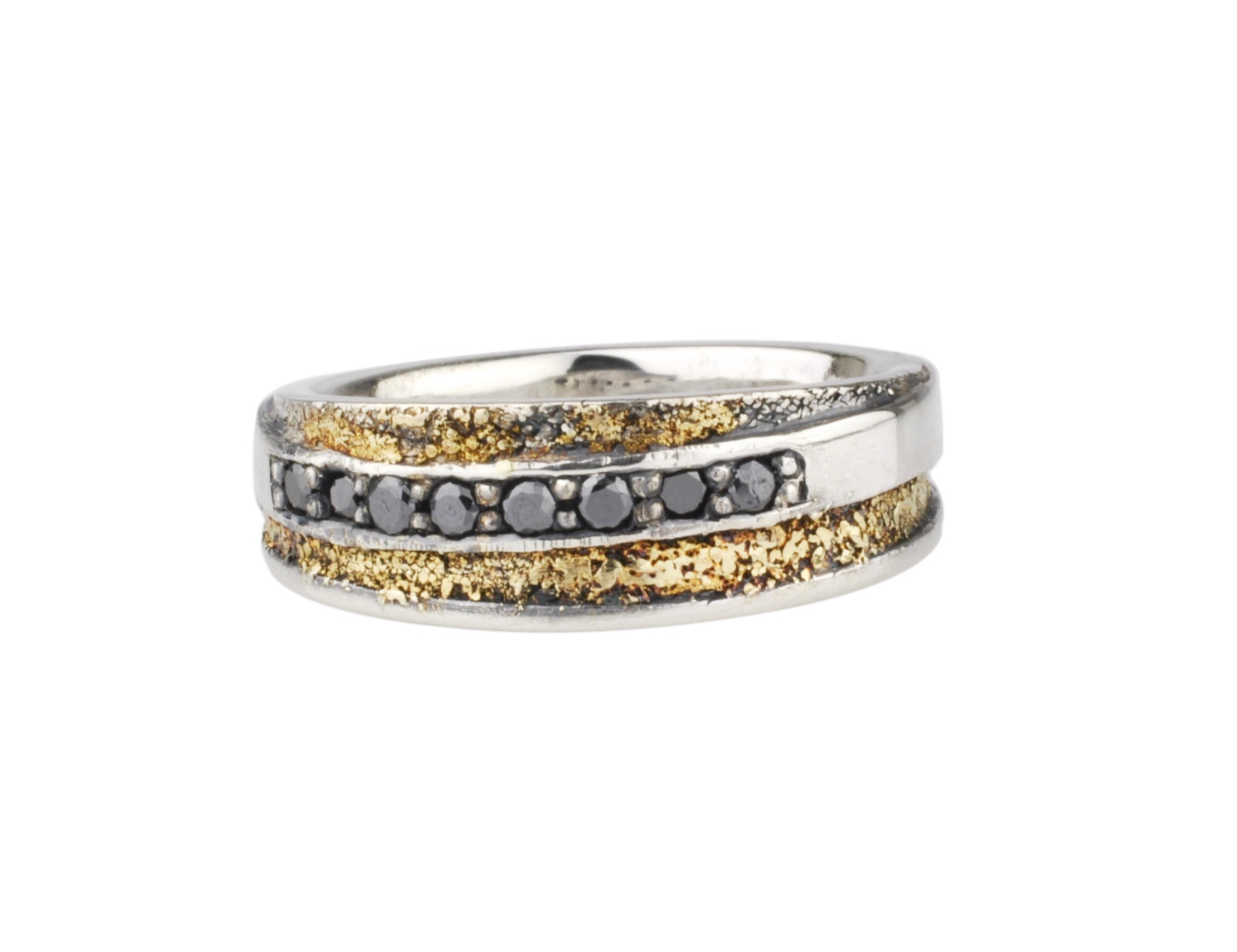 Gold Fusion Ring with Black Diamonds