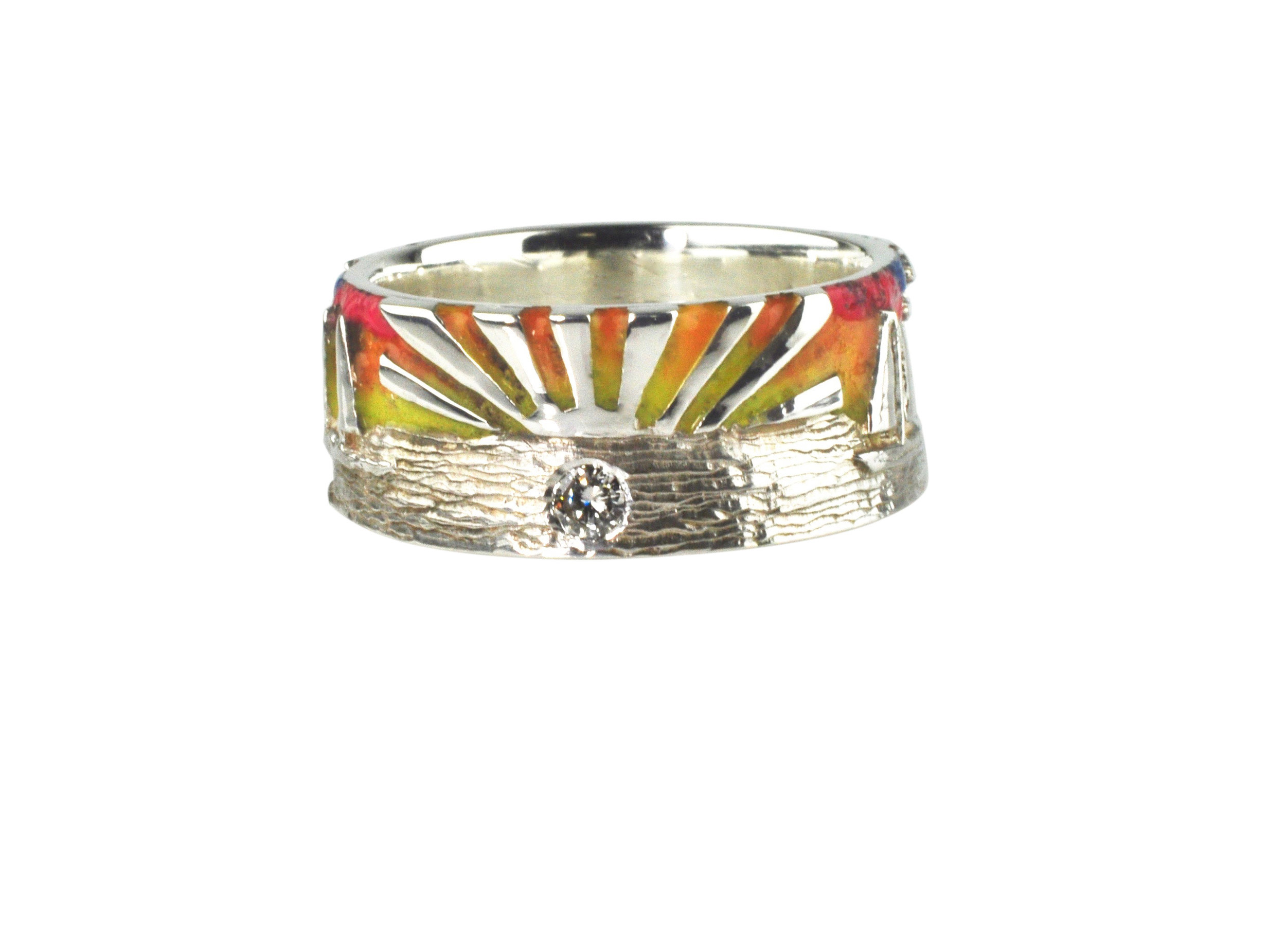 Sterling Silver Sunset Sky Beach Ring