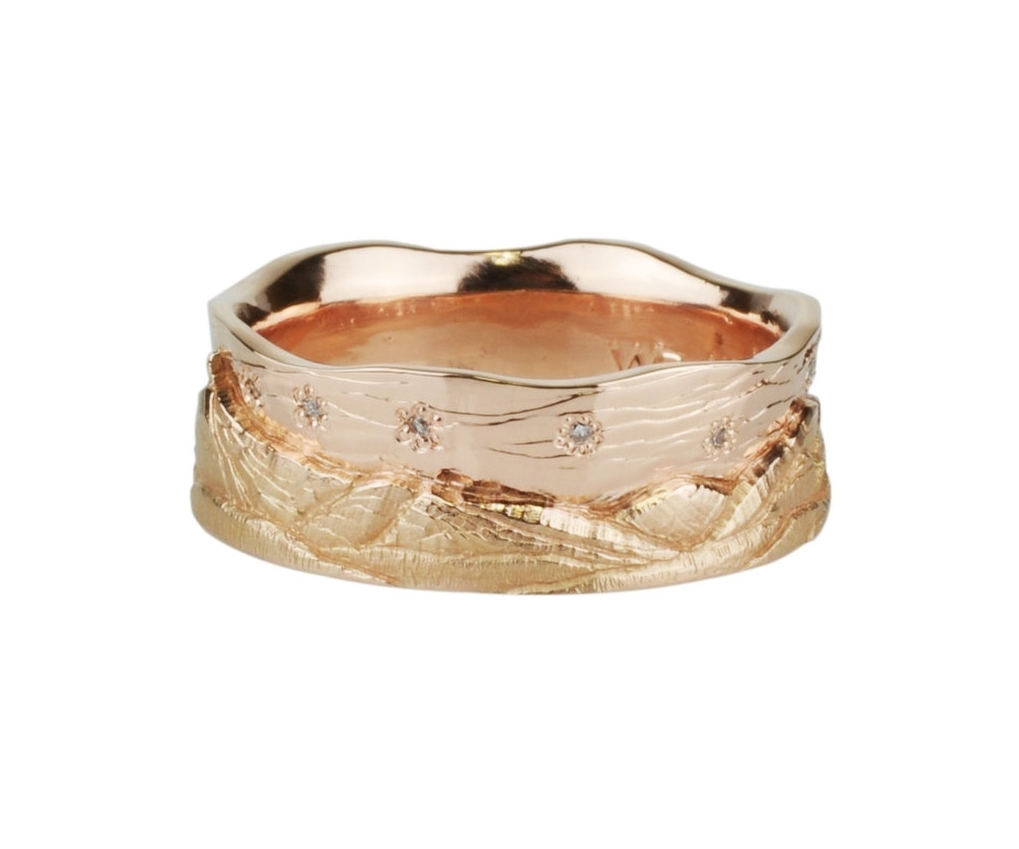 12k Rose Gold and Diamond Mountain Ring