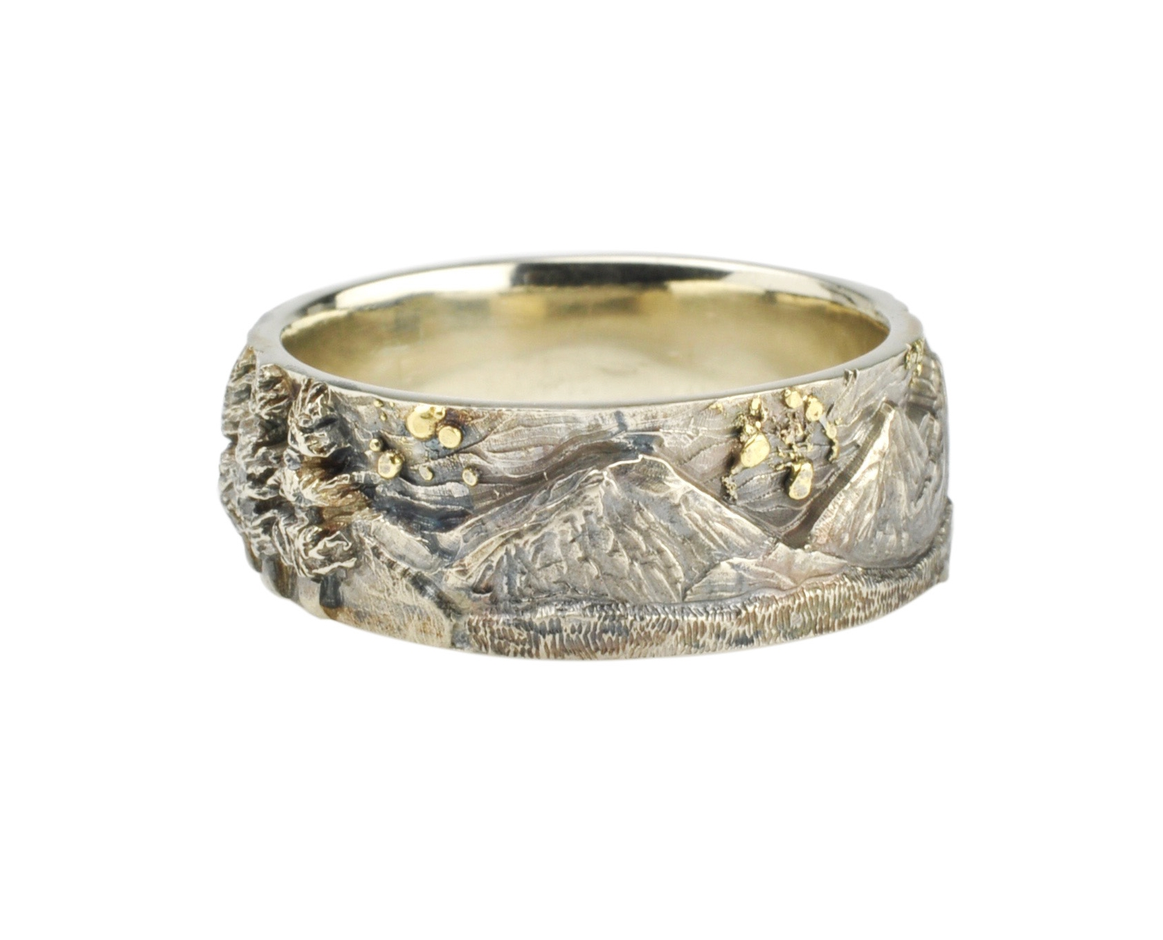 14k White Gold Three Sisters, Mt. Jefferson, and Black Butte Landscape Ring