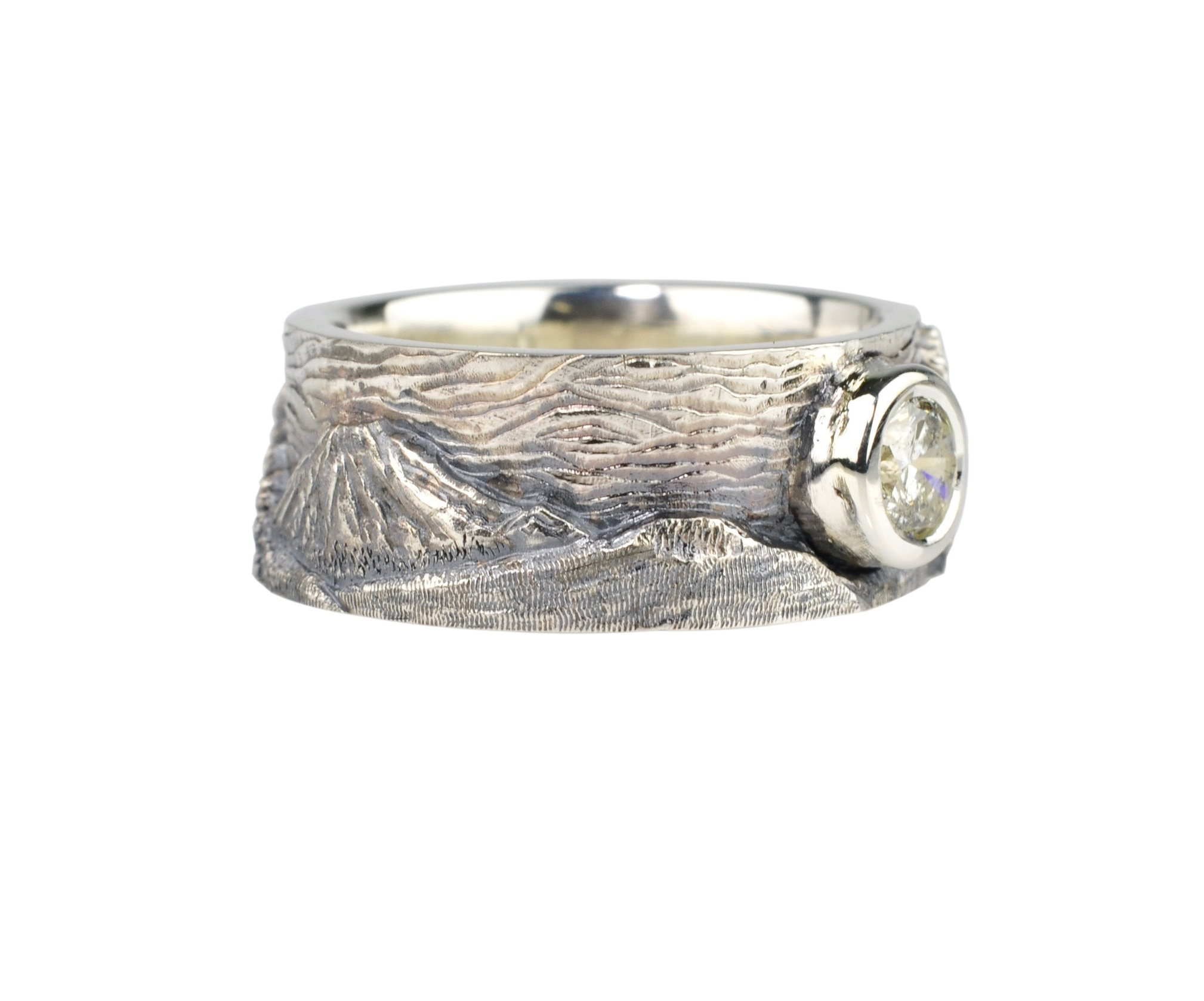 Mt. Bachelor and Mt. Hood Landscape Ring with Diamond