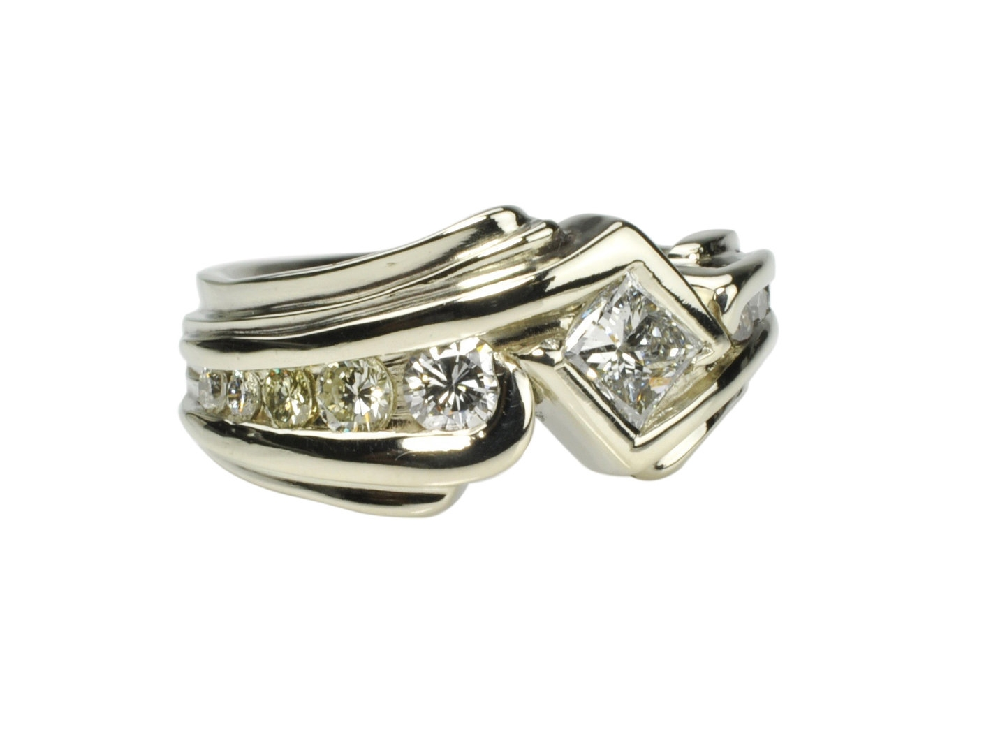 14k White Gold Ring with Diamonds from Heirloom Rings