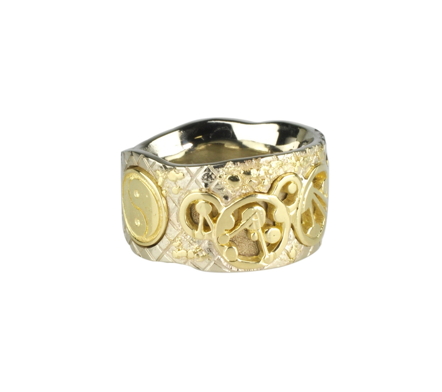 14k White Gold Gallifreyan Ring with Fusion and Inlay