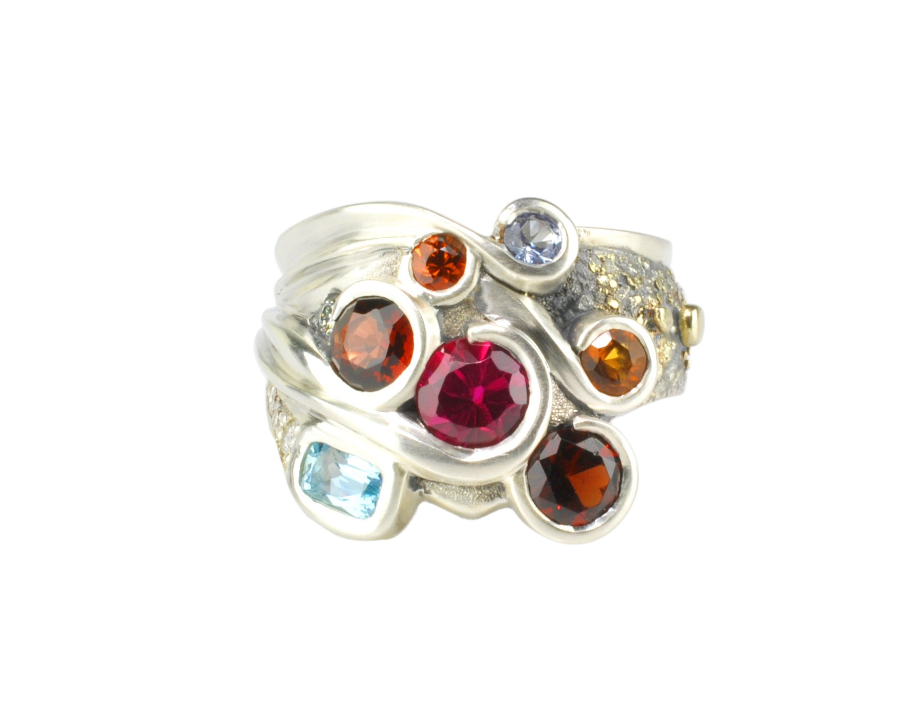 Sterling Silver Ring with 18k Gold Fusion and Multi-Colored Gemstones