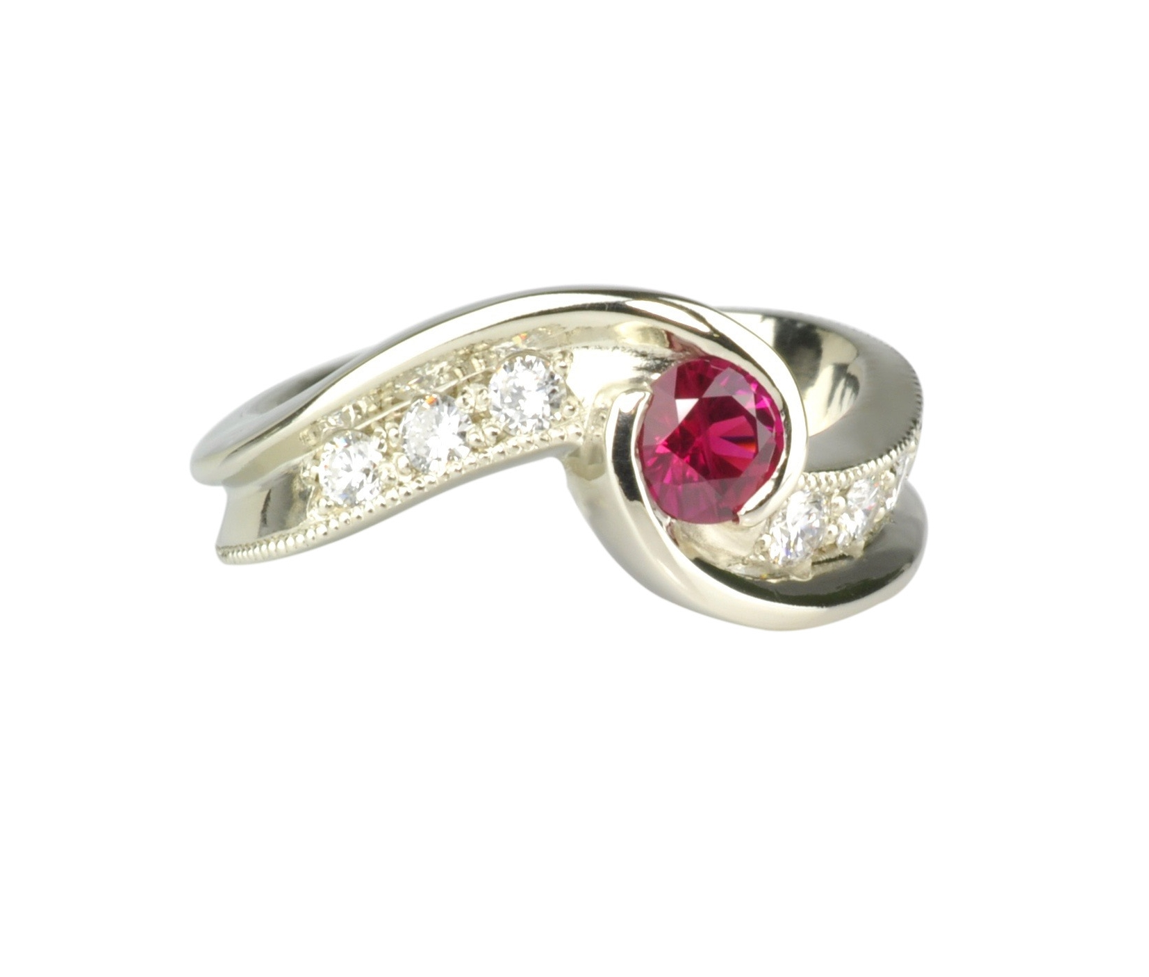 14k White Gold Burmese Ruby Ring with Diamonds