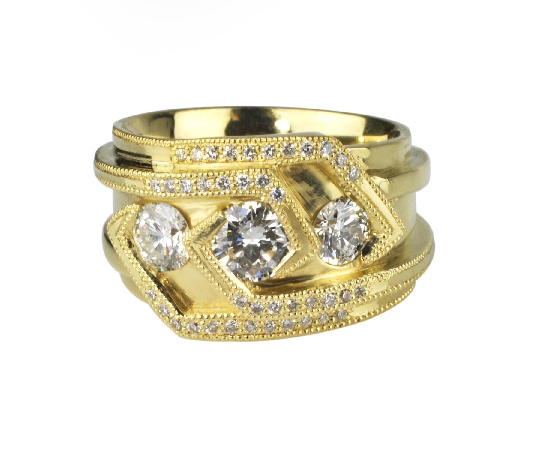 Waylon Rhoads Original 18k Gold Ring with a Trinity of Round Diamonds